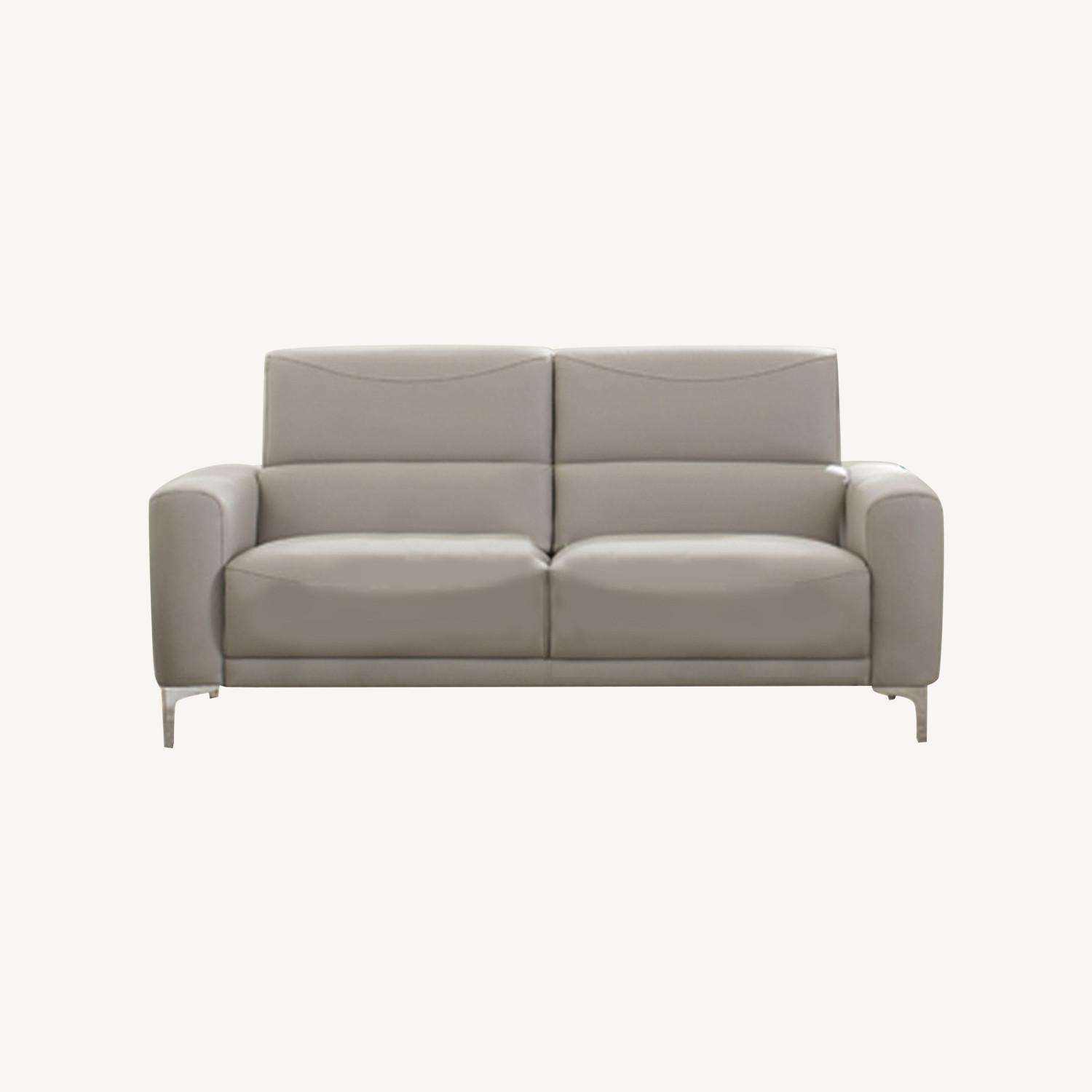 Sofa In Taupe Leatherette W/ Tall Metal Legs - image-3