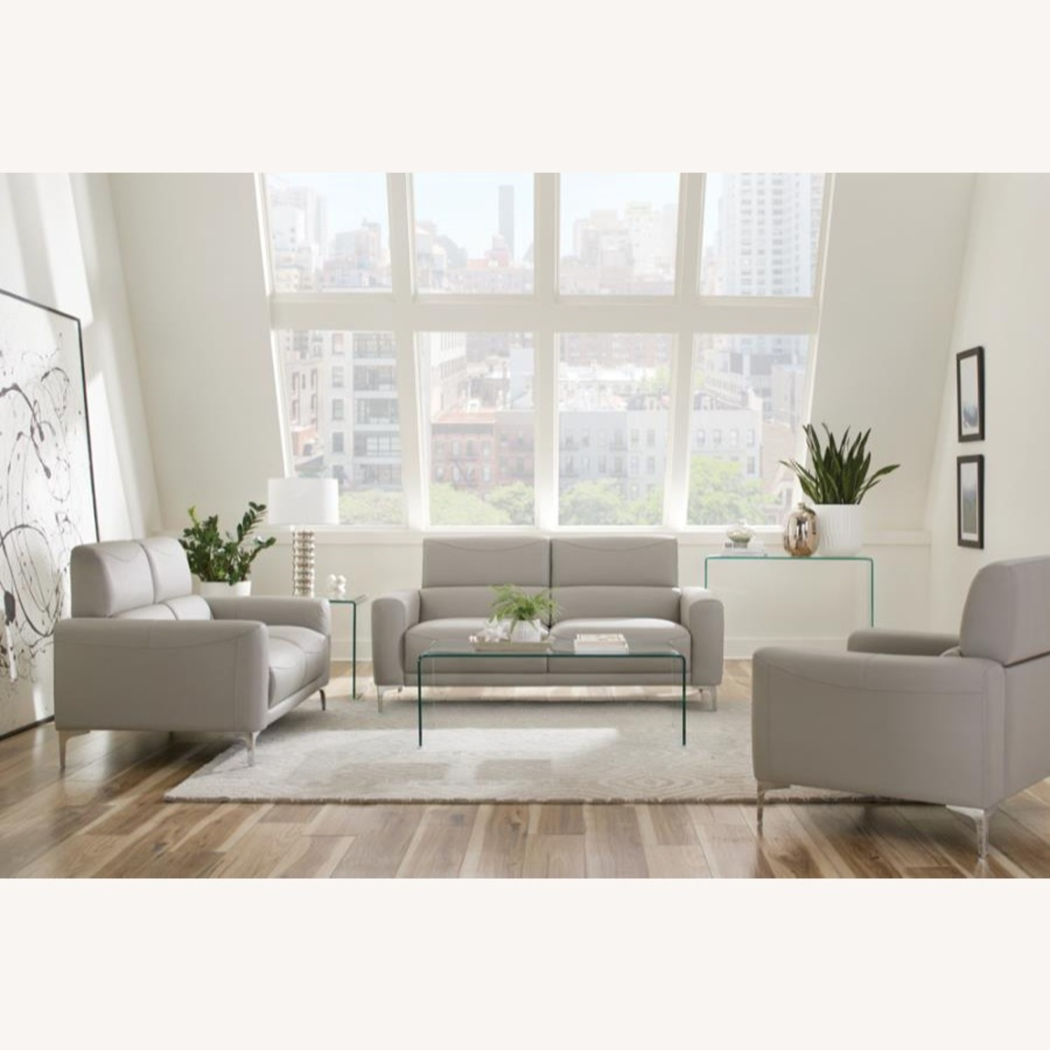Sofa In Taupe Leatherette W/ Tall Metal Legs - image-2