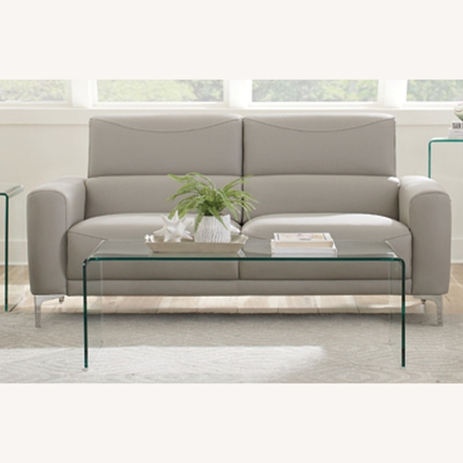 Sofa In Taupe Leatherette W/ Tall Metal Legs - image-0