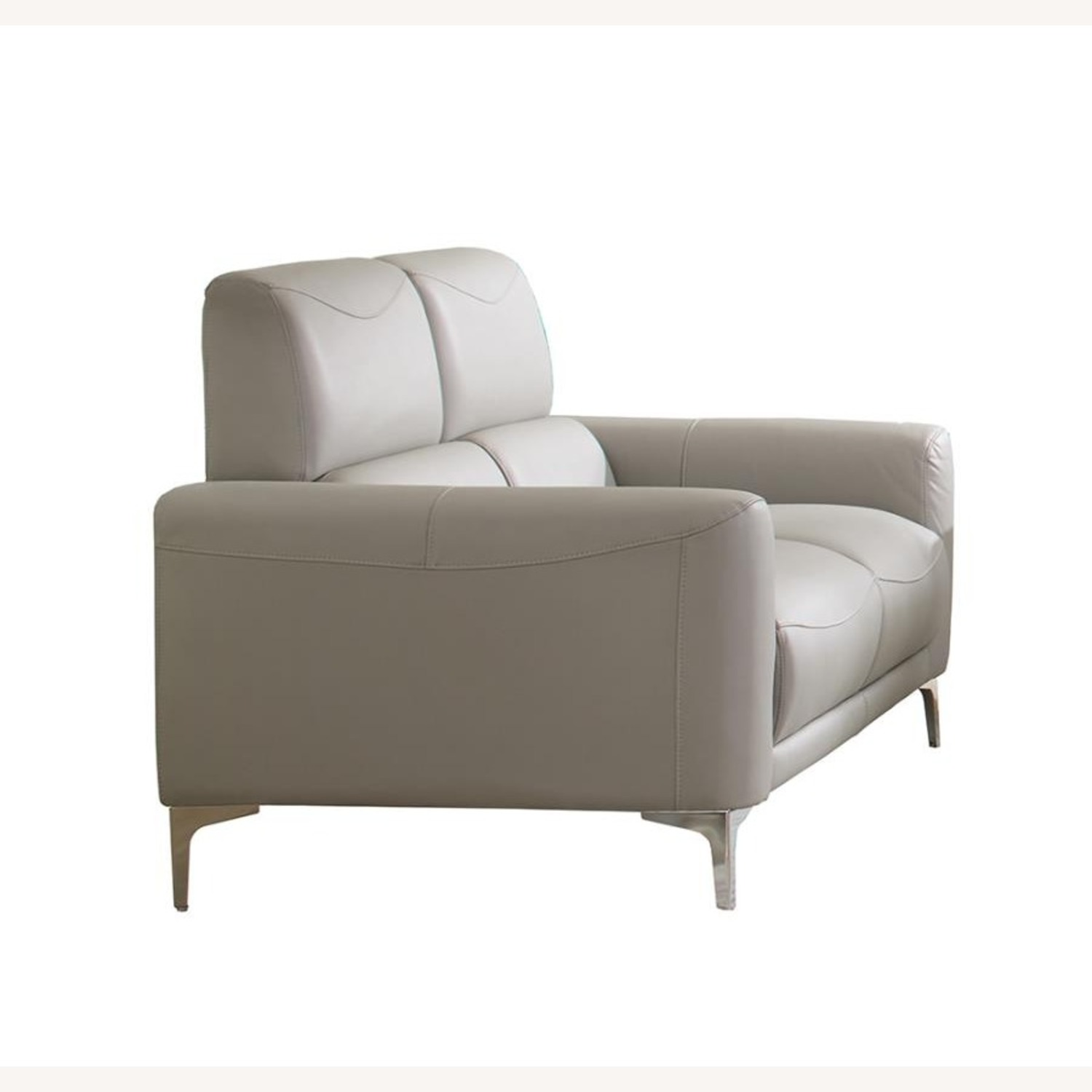 Loveseat In Soft Taupe Leatherette Upholstery - image-1