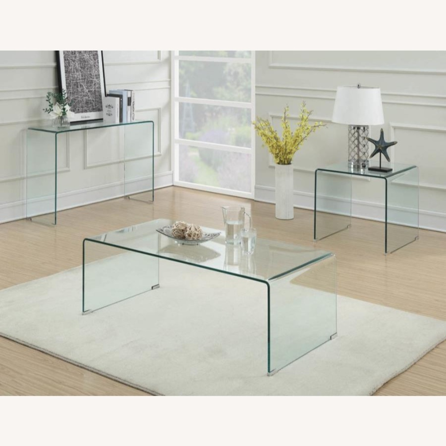 End Table In A Clear Finish W/ Curved Top Edge - image-4