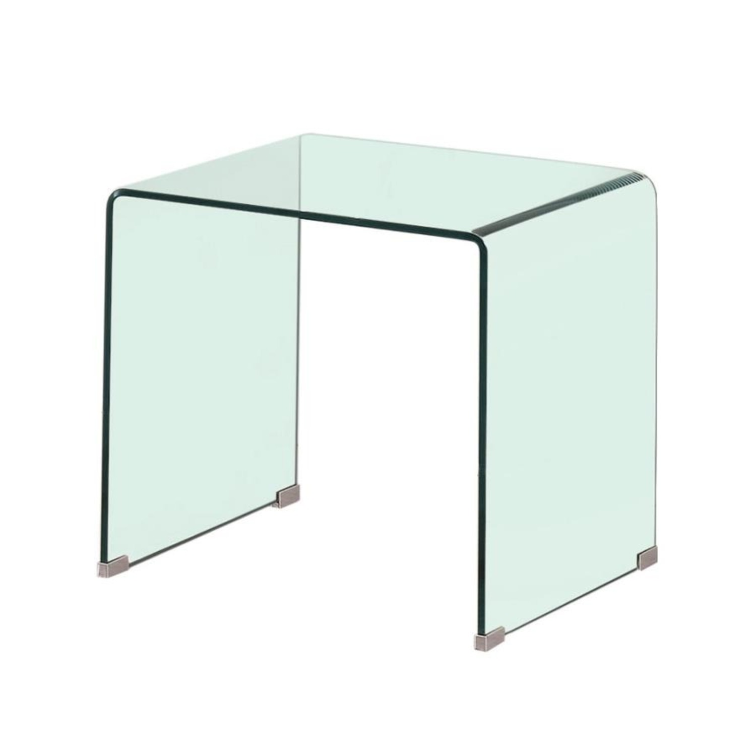 End Table In A Clear Finish W/ Curved Top Edge - image-0