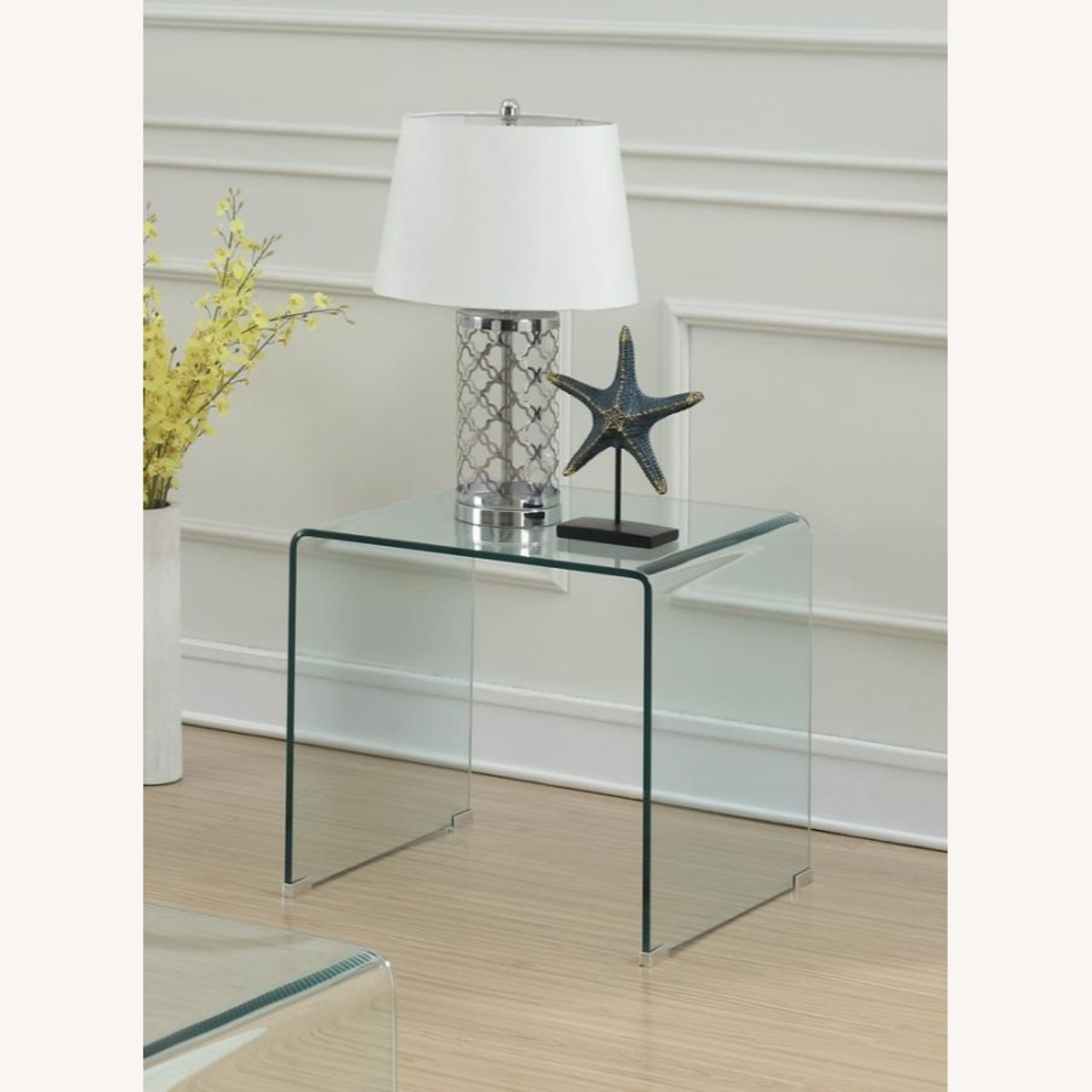 End Table In A Clear Finish W/ Curved Top Edge - image-3