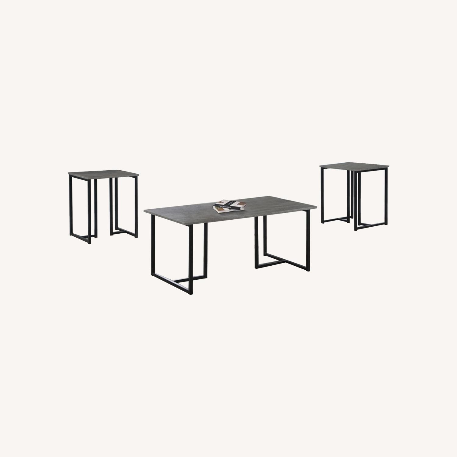 3-Piece Occasional Set In Grey And Black Finish - image-3