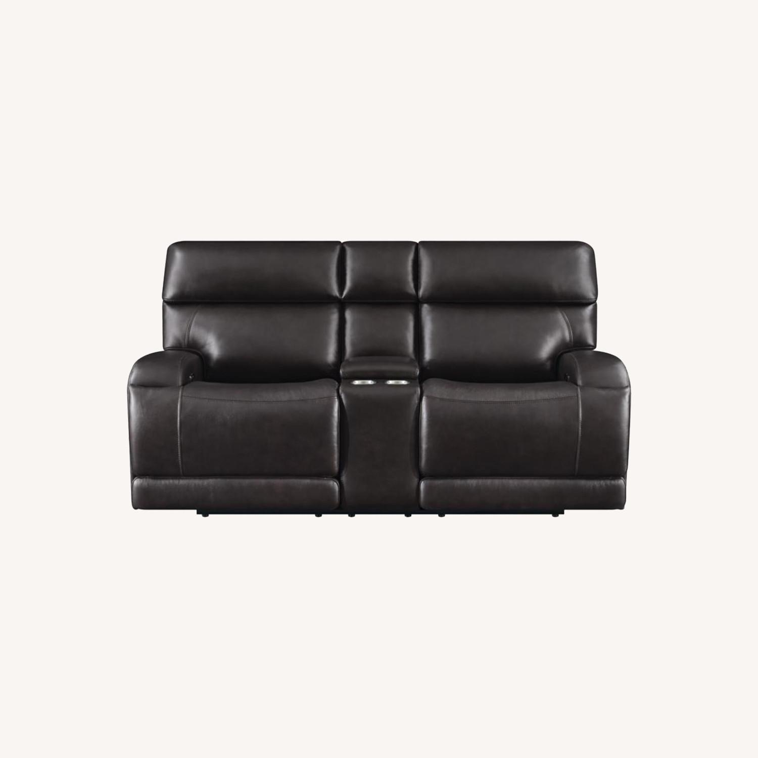 Power Loveseat W/ Console In Dark Brown Leather - image-12