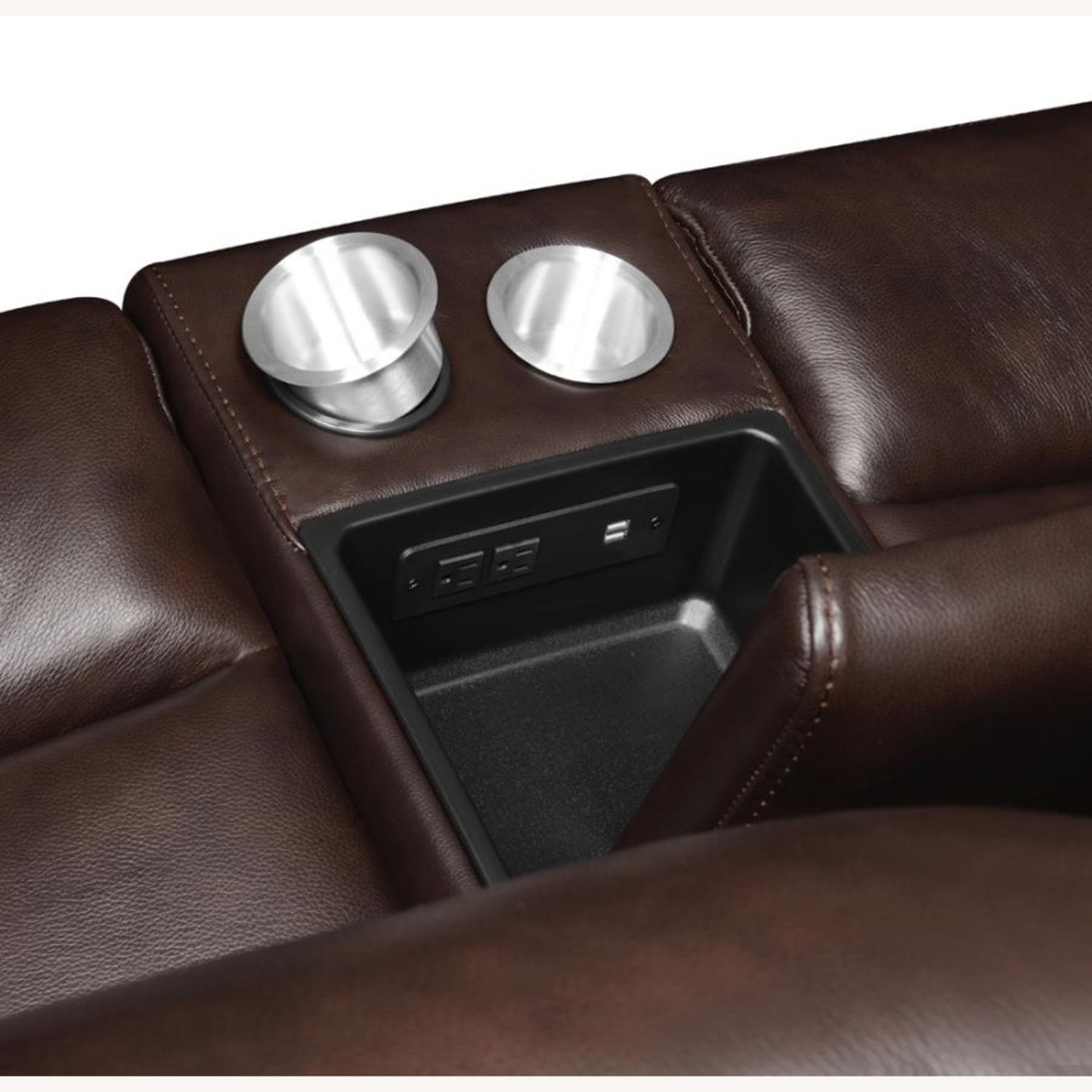 Power Loveseat W/ Console In Dark Brown Leather - image-5
