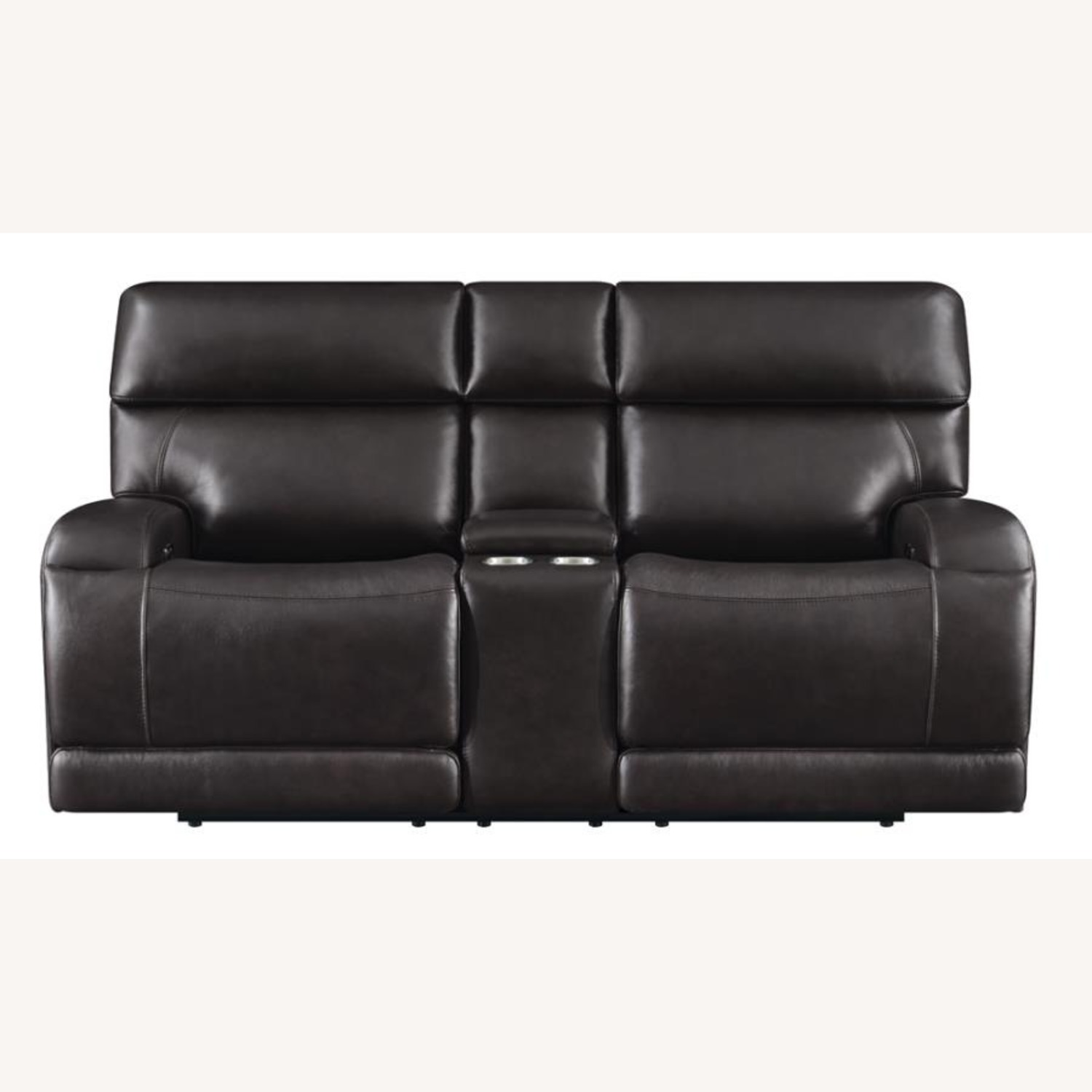 Power Loveseat W/ Console In Dark Brown Leather - image-2