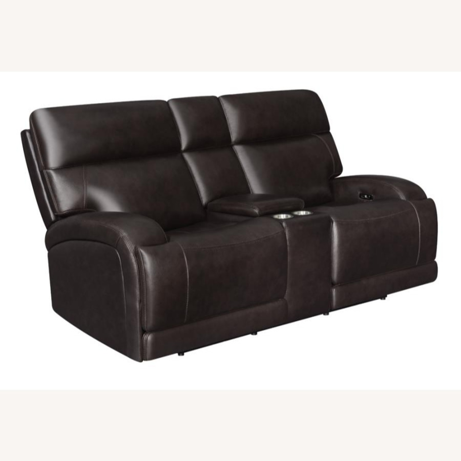 Power Loveseat W Console In Dark Brown Leather Aptdeco