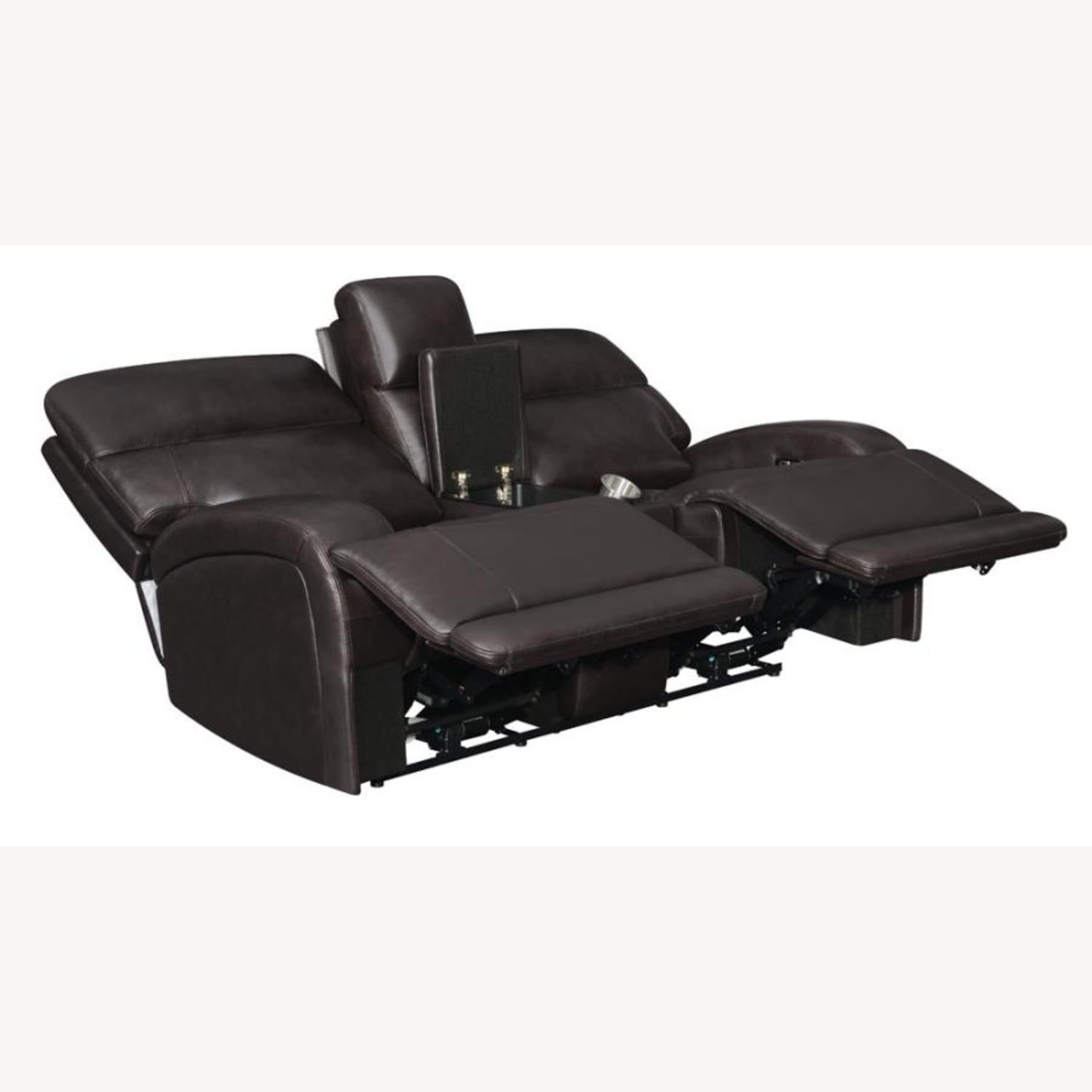 Power Loveseat W/ Console In Dark Brown Leather - image-1