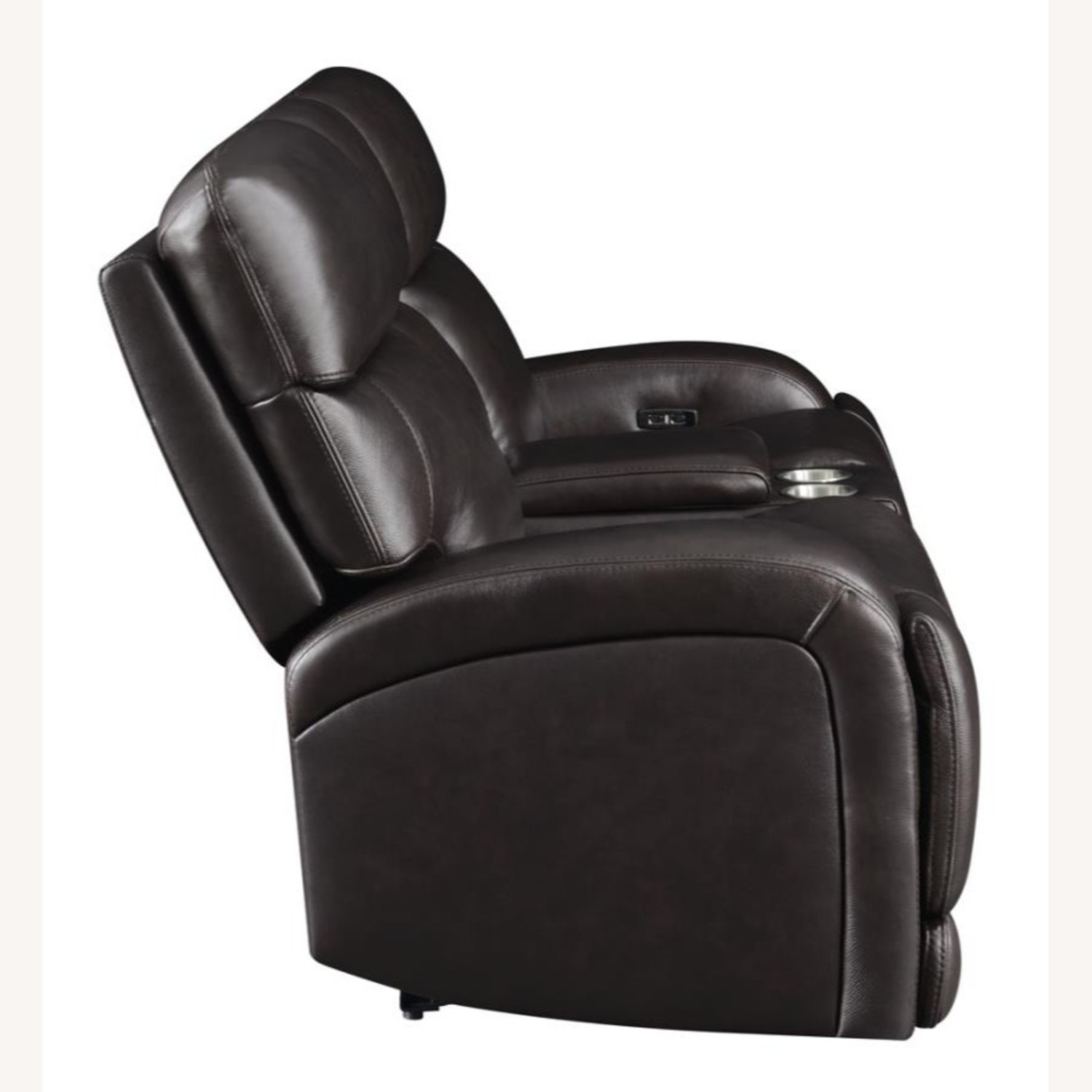 Power Loveseat W/ Console In Dark Brown Leather - image-3