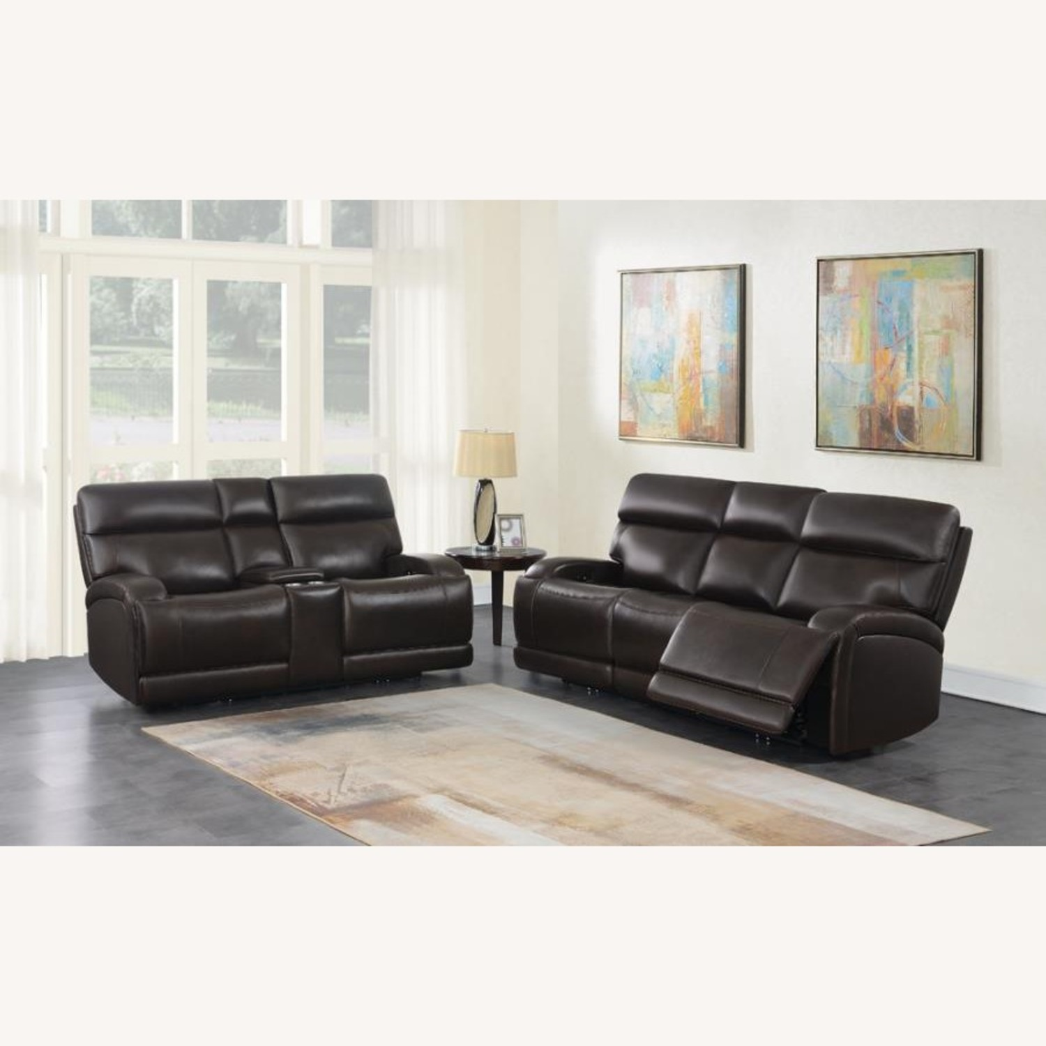 Power Loveseat W/ Console In Dark Brown Leather - image-11