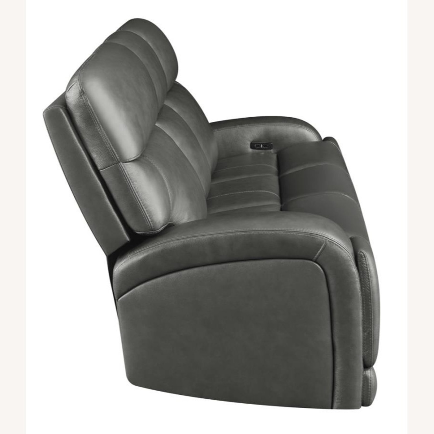 Power Sofa In Charcoal Top Grain Leather  - image-2