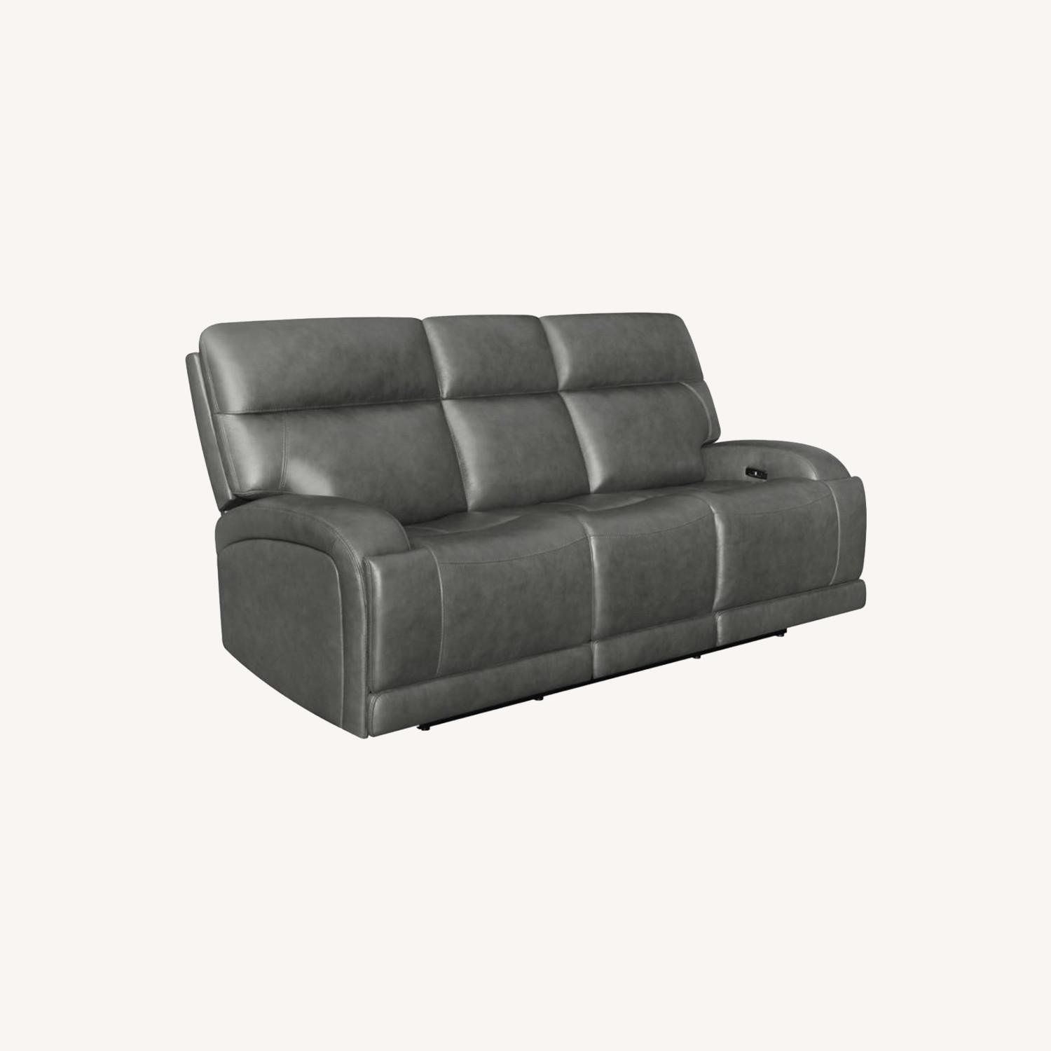 Power Sofa In Charcoal Top Grain Leather  - image-9