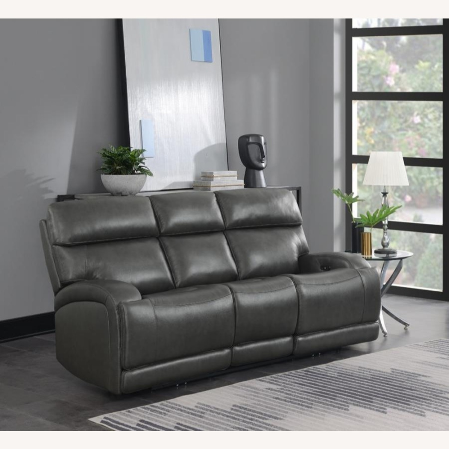 Power Sofa In Charcoal Top Grain Leather  - image-7