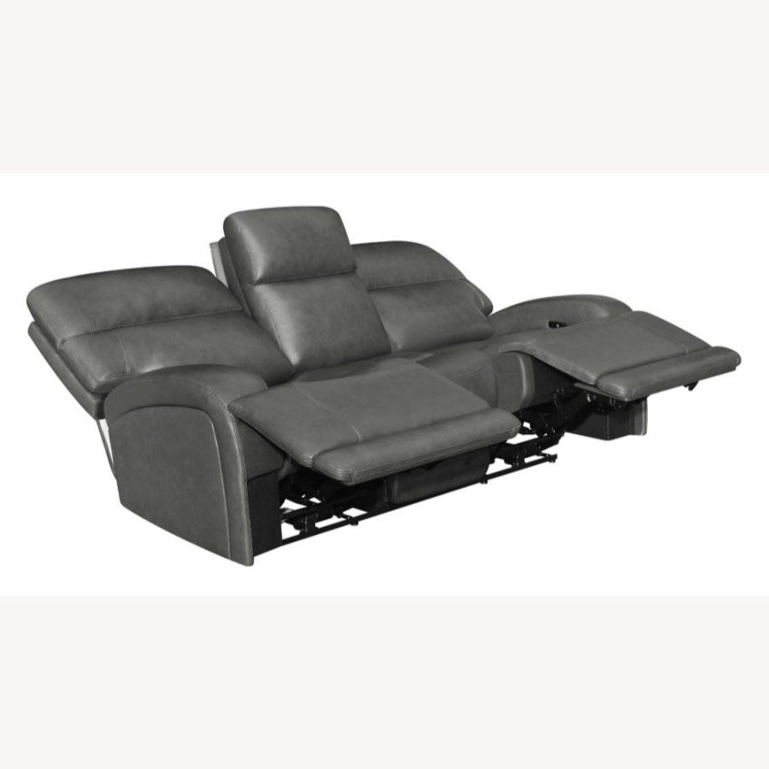 Power Sofa In Charcoal Top Grain Leather  - image-1