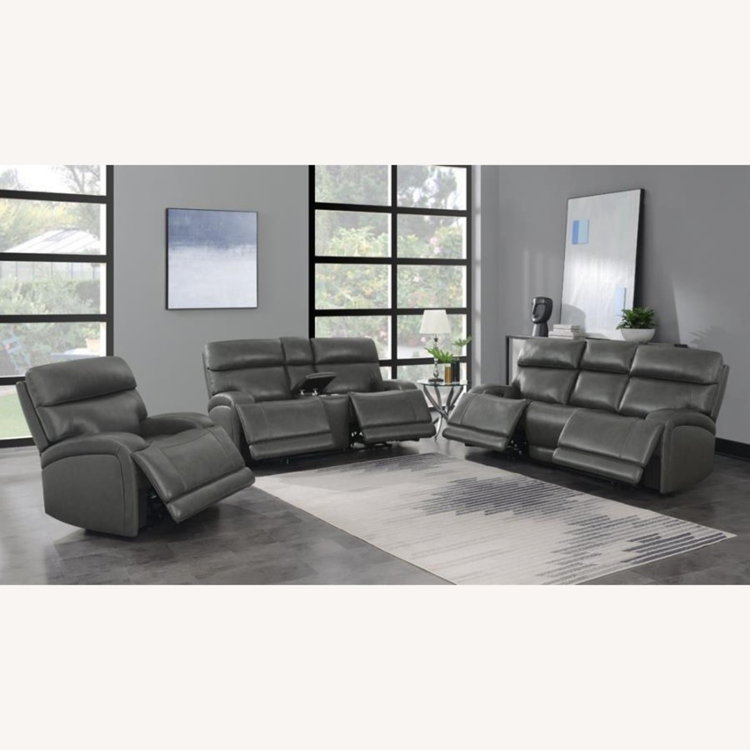 Power Sofa In Charcoal Top Grain Leather  - image-8