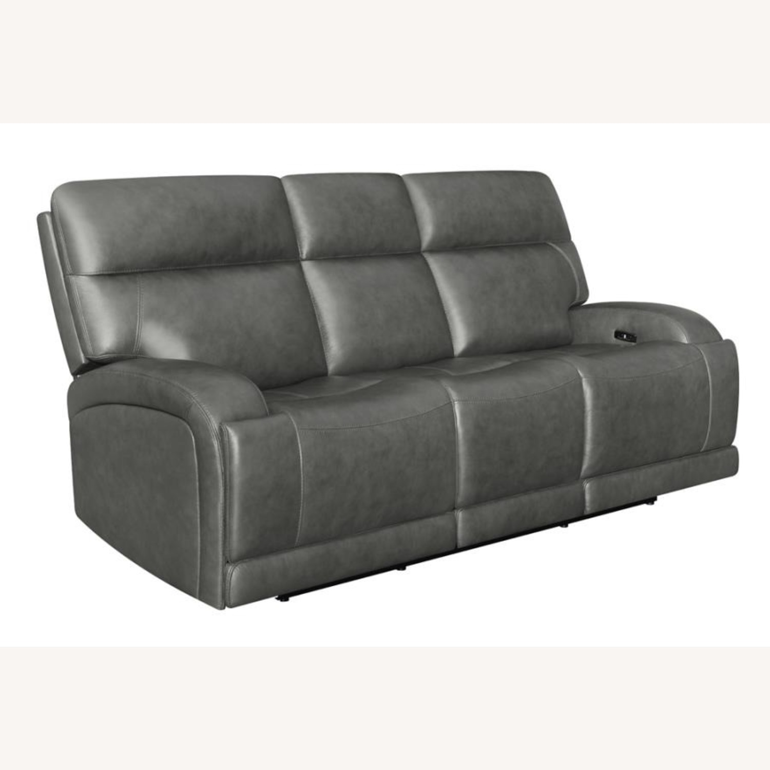 Power Sofa In Charcoal Top Grain Leather  - image-0