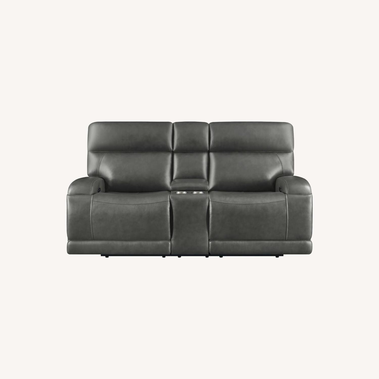 Power Loveseat W/ Console In Charcoal Leatherette - image-11
