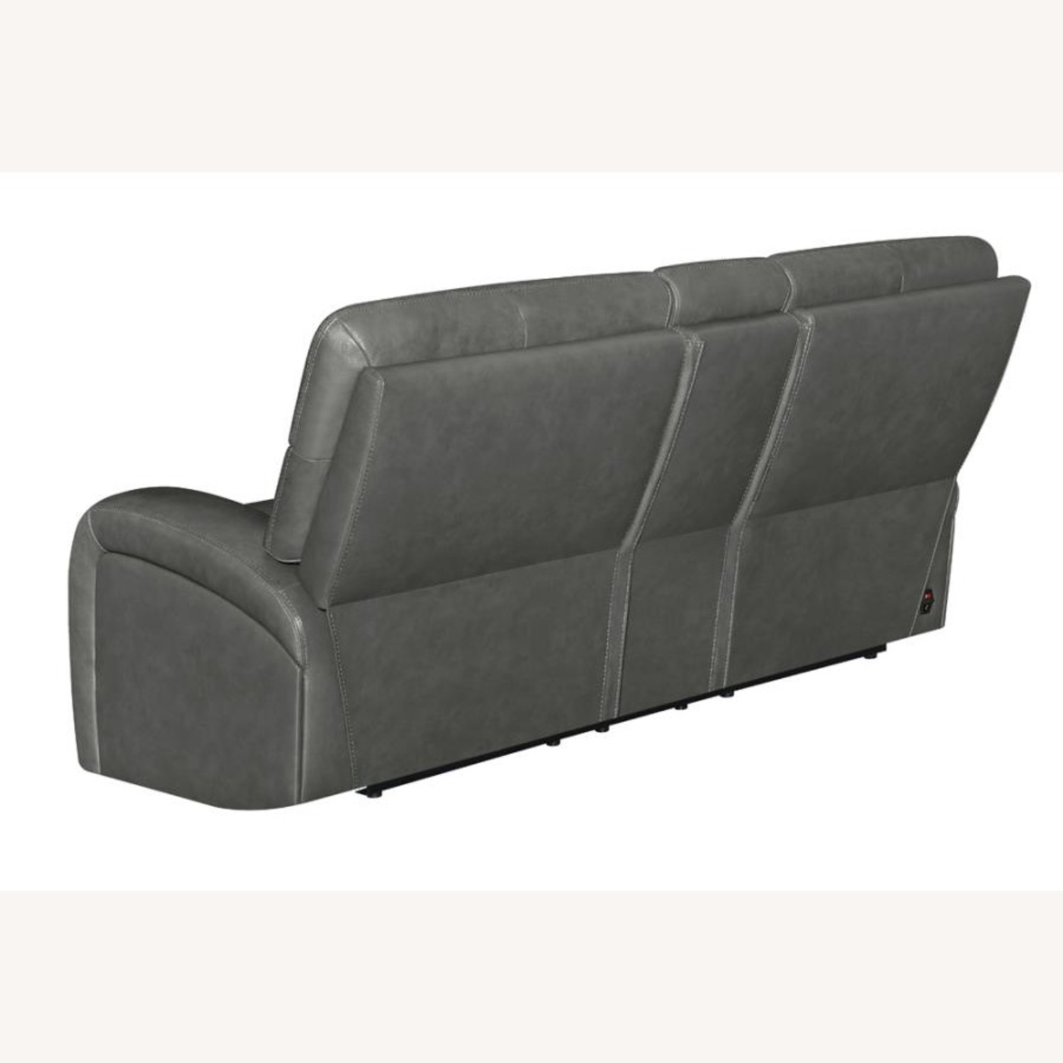 Power Loveseat W/ Console In Charcoal Leatherette - image-3