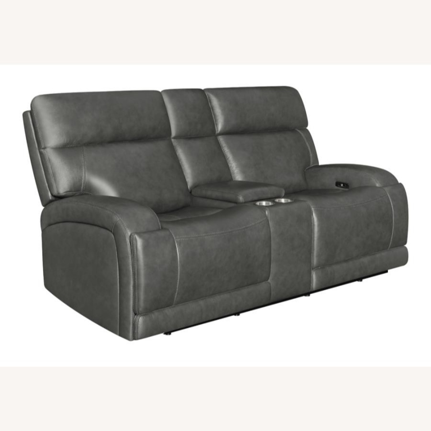 Power Loveseat W/ Console In Charcoal Leatherette - image-0