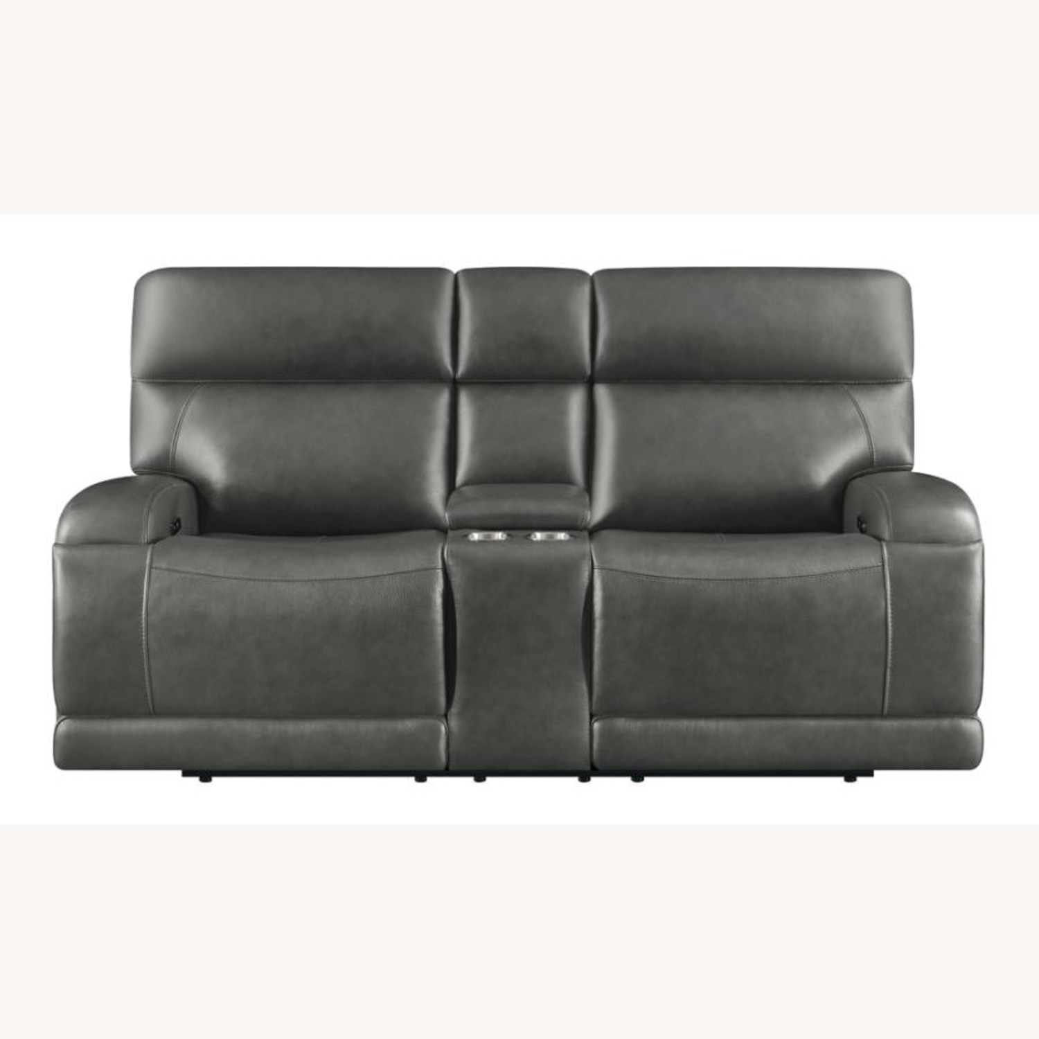 Power Loveseat W/ Console In Charcoal Leatherette - image-2