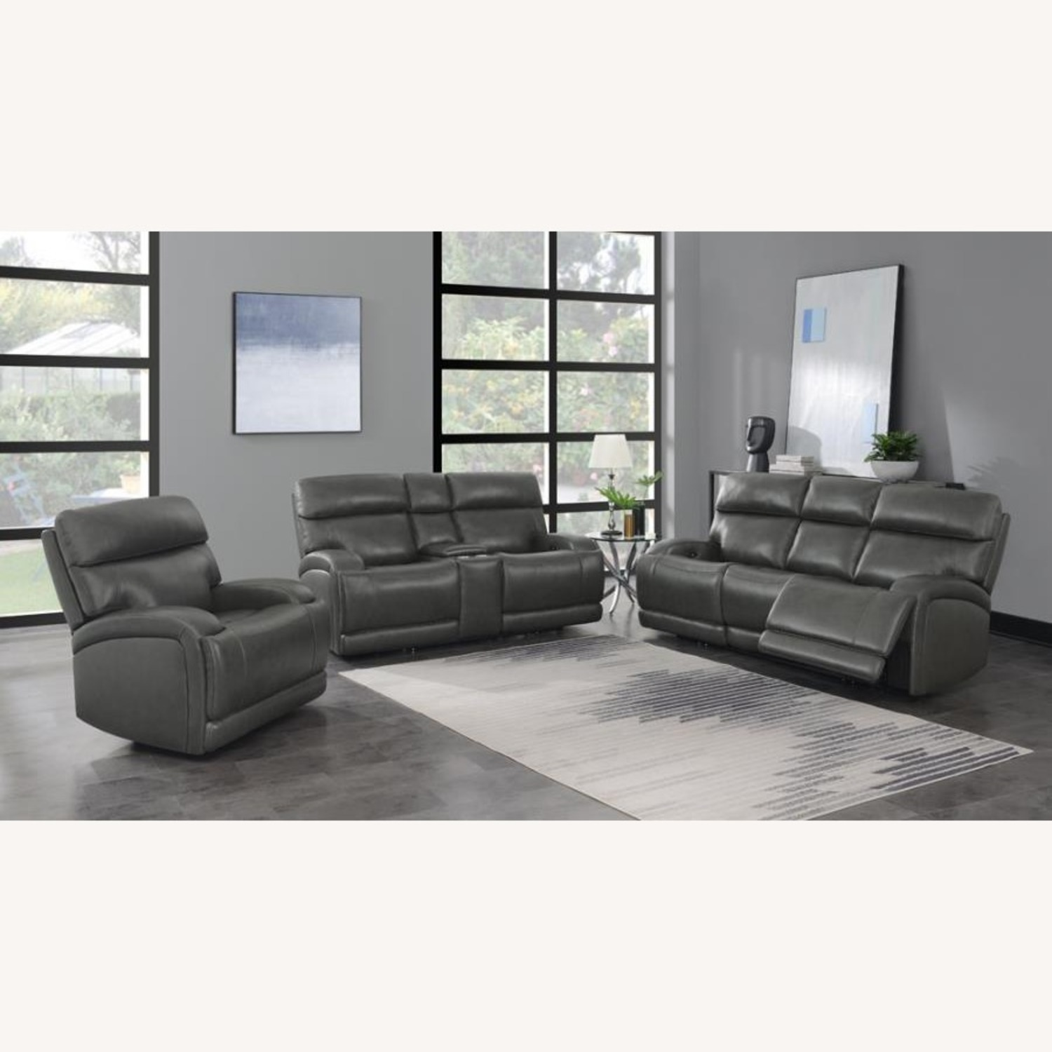 Power Loveseat W/ Console In Charcoal Leatherette - image-10