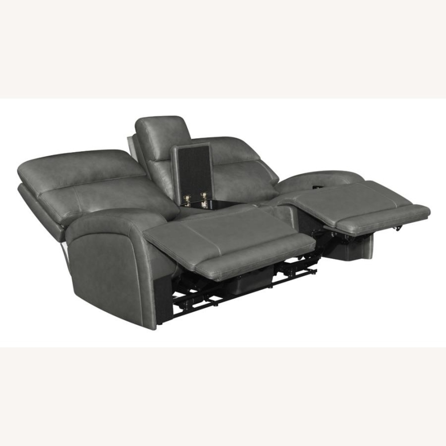 Power Loveseat W/ Console In Charcoal Leatherette - image-1