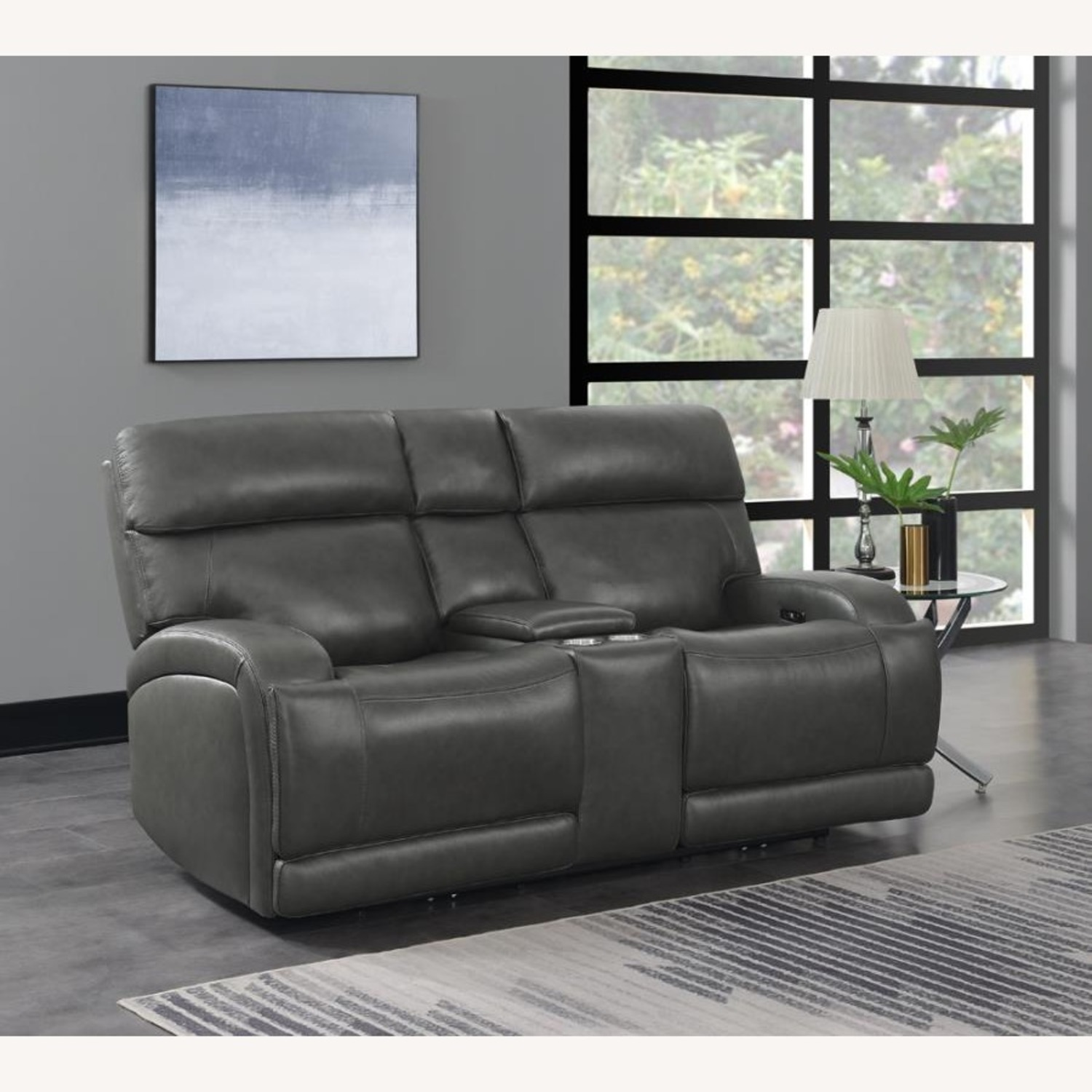 Power Loveseat W/ Console In Charcoal Leatherette - image-9