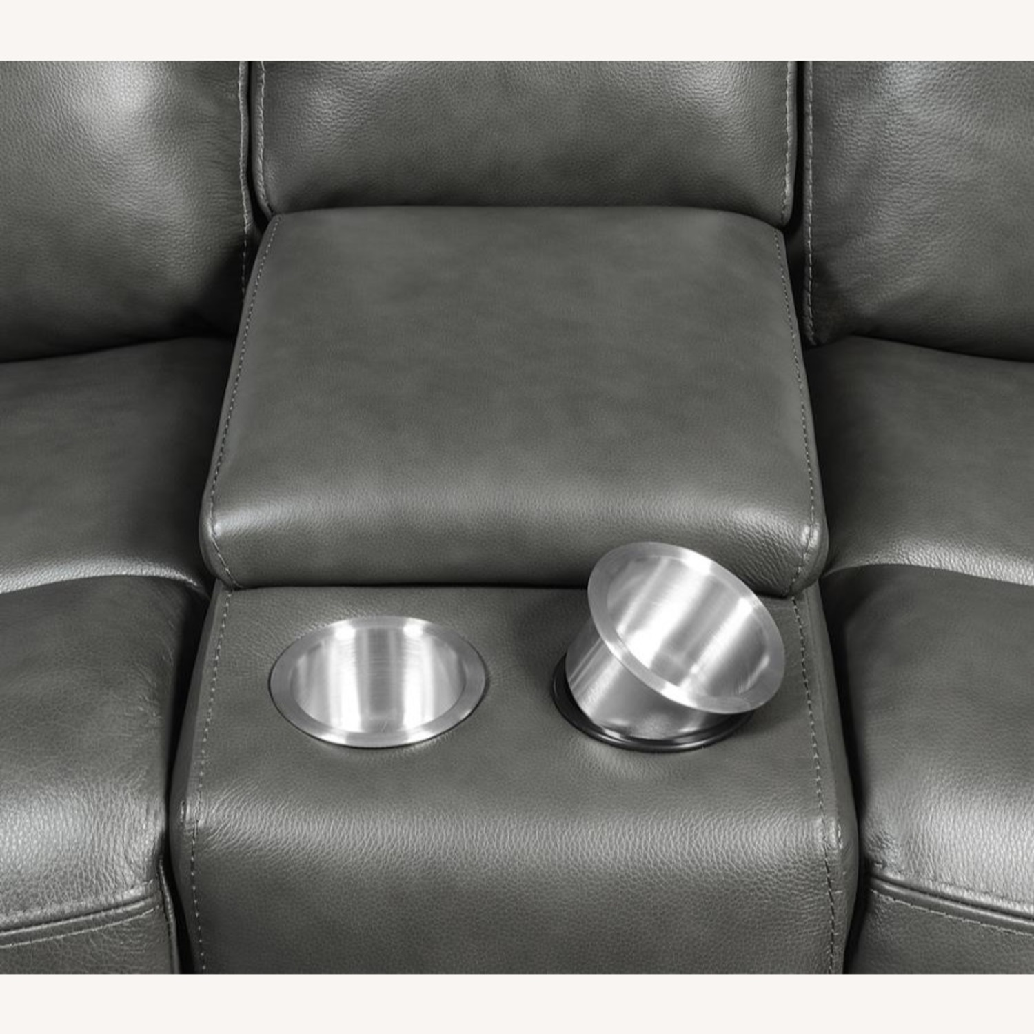 Power Loveseat W/ Console In Charcoal Leatherette - image-4