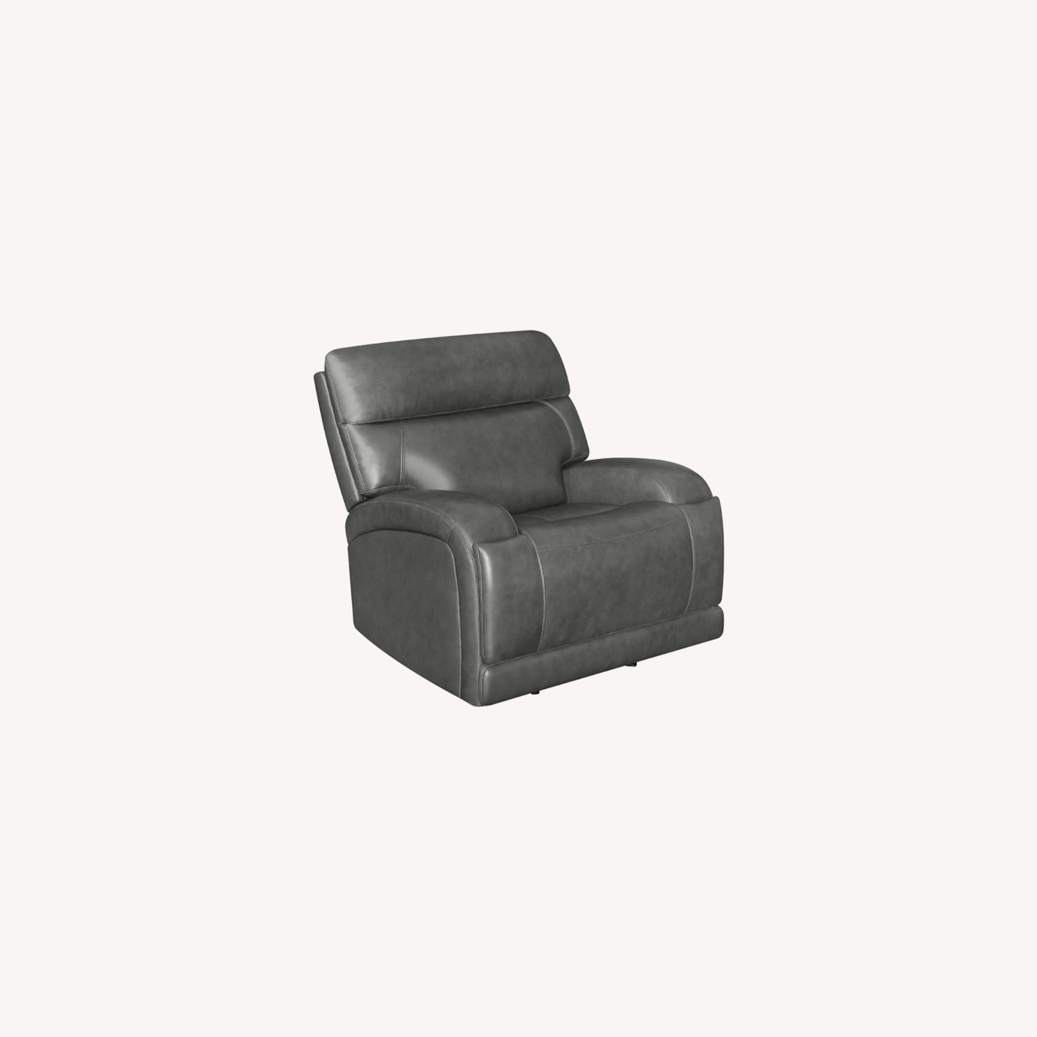 Power Recliner Chair In Charcoal Leatherette - image-9