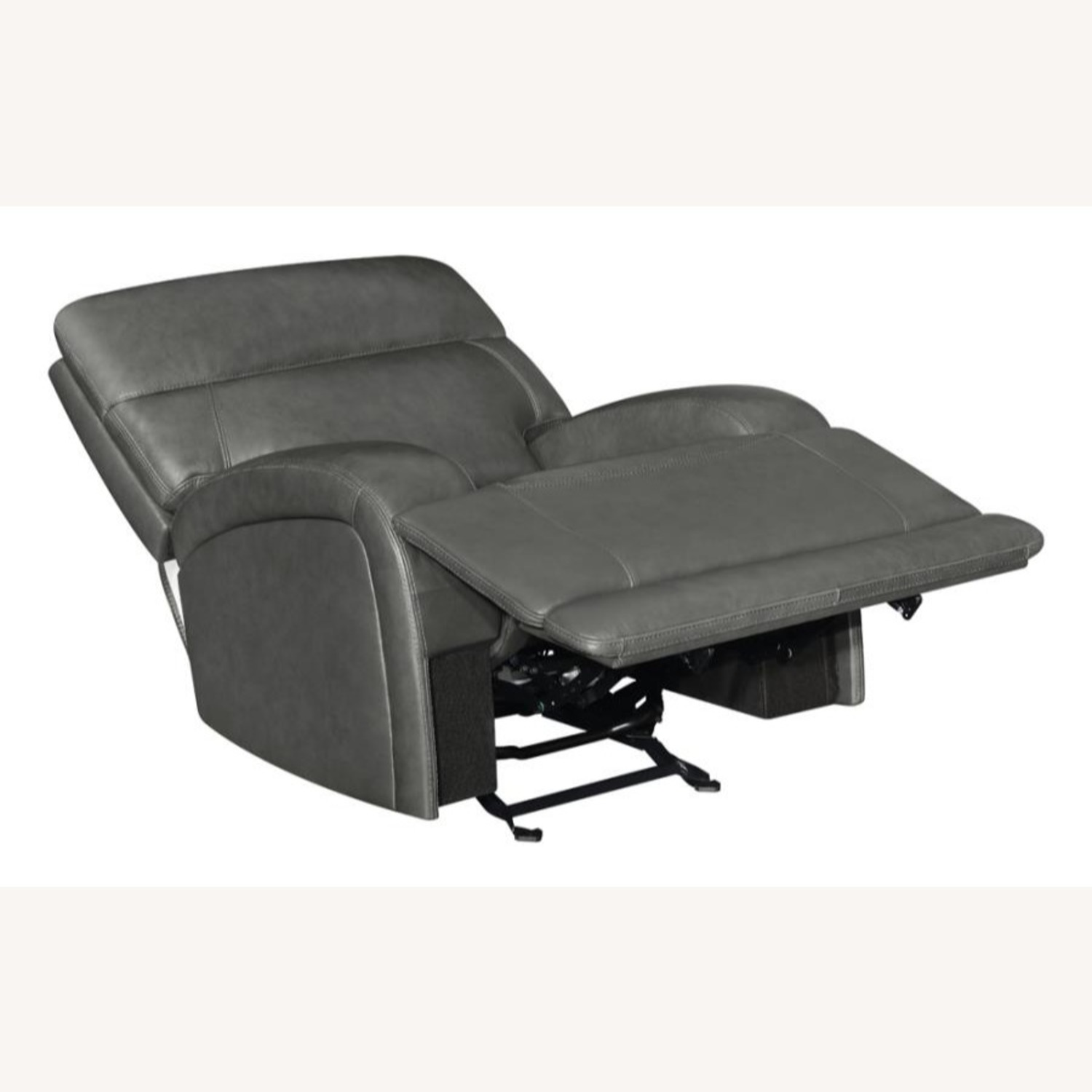 Power Recliner Chair In Charcoal Leatherette - image-1