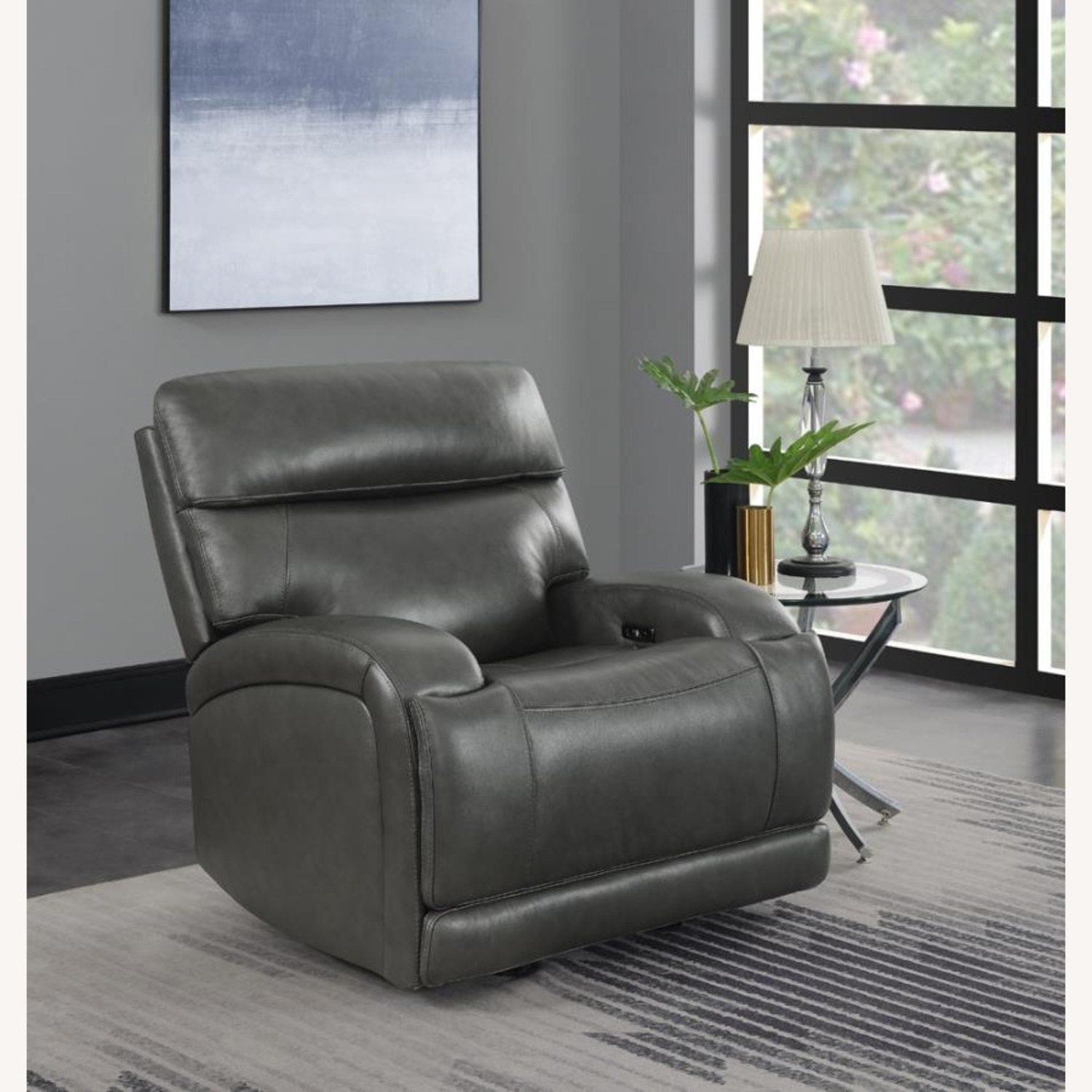Power Recliner Chair In Charcoal Leatherette - image-7
