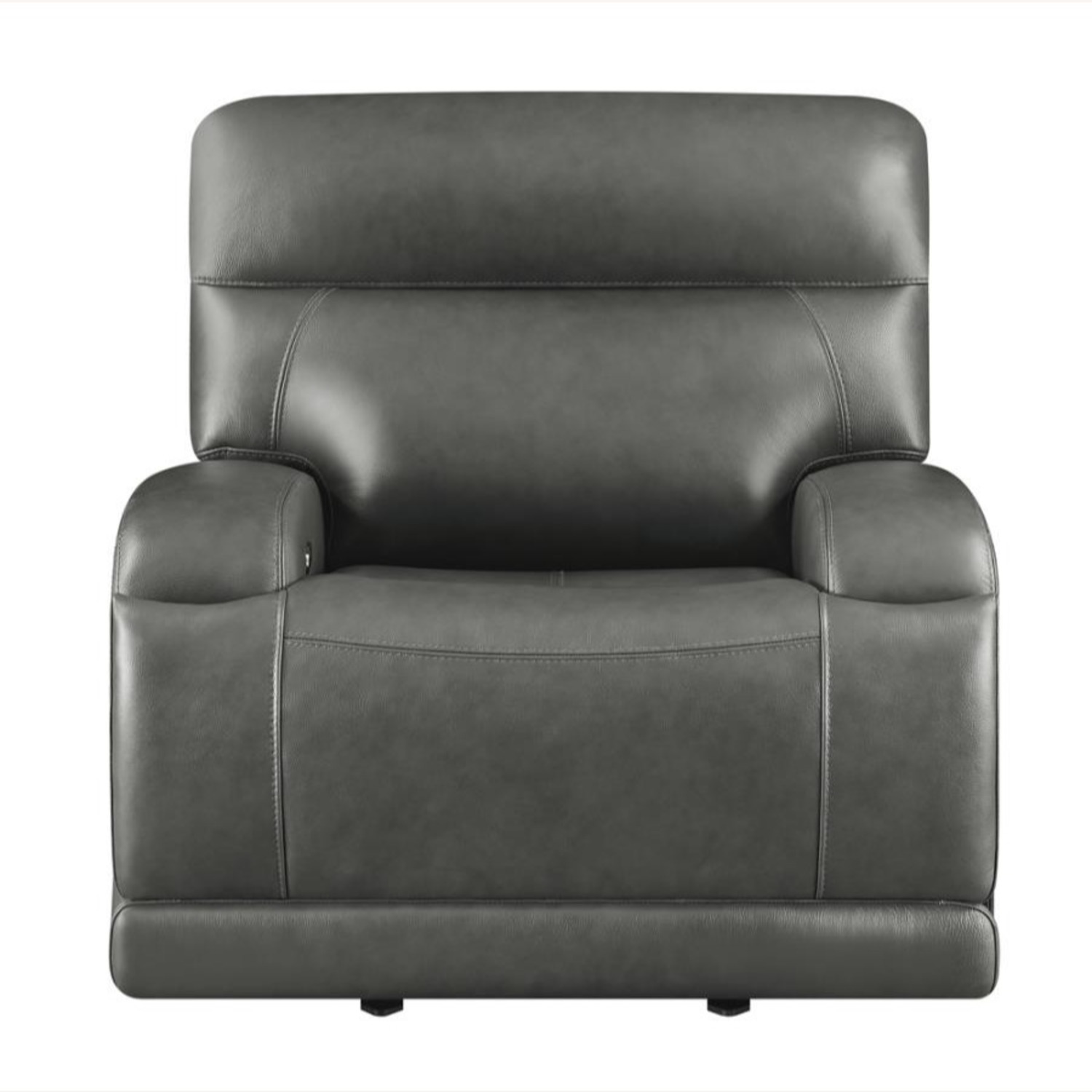 Power Recliner Chair In Charcoal Leatherette - image-2