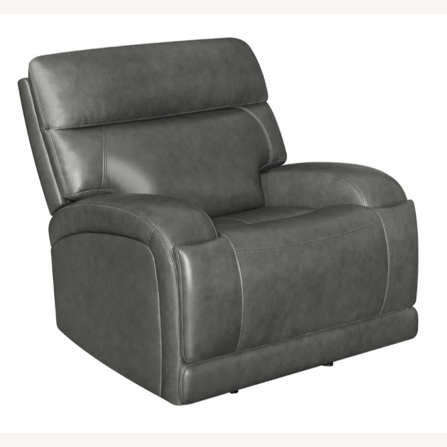 Power Recliner Chair In Charcoal Leatherette - image-0