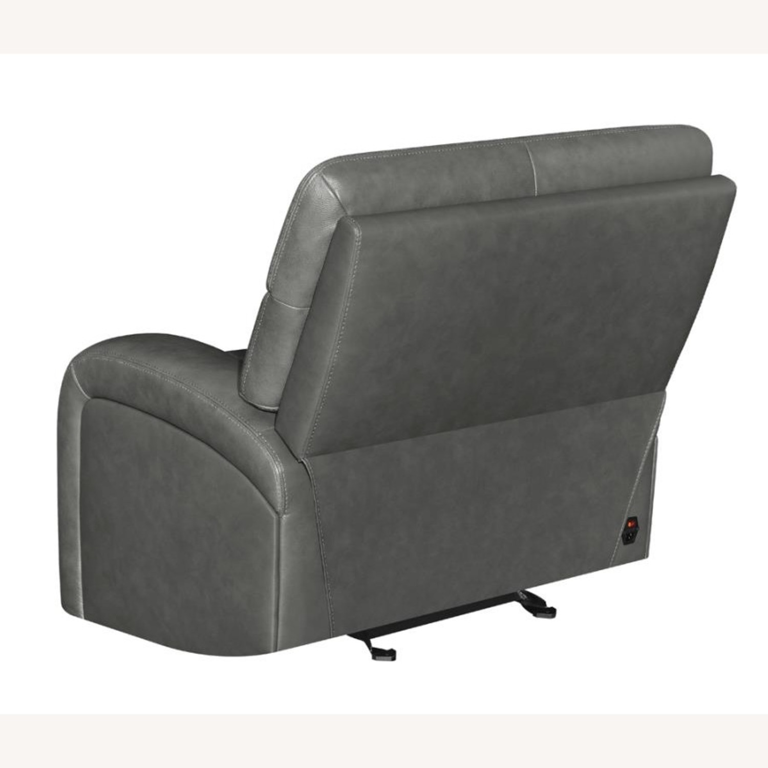 Power Recliner Chair In Charcoal Leatherette - image-3