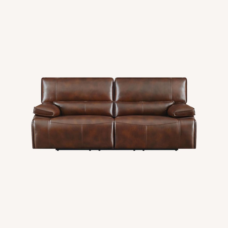 Power Sofa In Saddle Brown W/ Hugger Mechanism - image-9