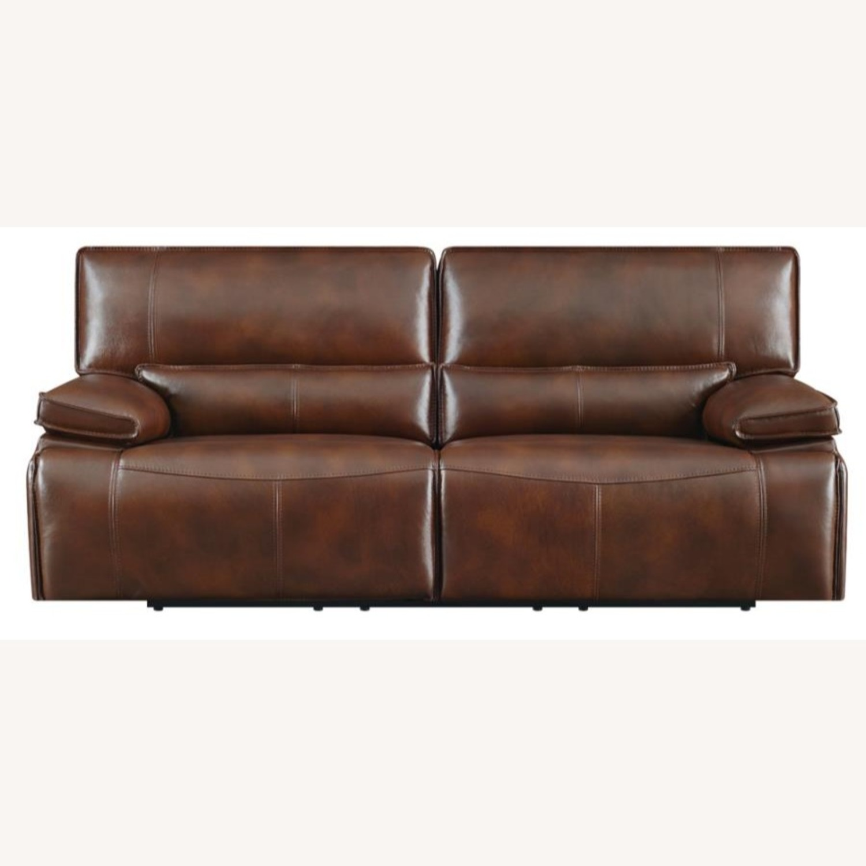 Power Sofa In Saddle Brown W/ Hugger Mechanism - image-2