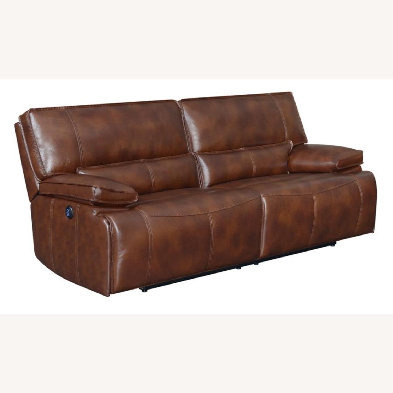 Power Sofa In Saddle Brown W/ Hugger Mechanism - image-0