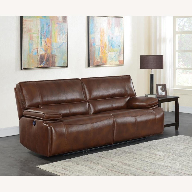 Power Sofa In Saddle Brown W/ Hugger Mechanism - image-7