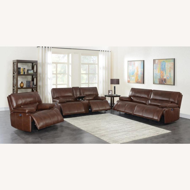 Power Sofa In Saddle Brown W/ Hugger Mechanism - image-8