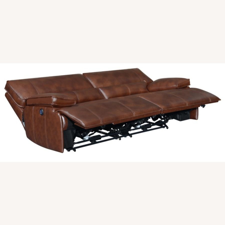 Power Sofa In Saddle Brown W/ Hugger Mechanism - image-1