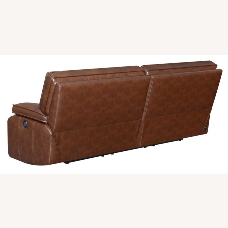 Power Sofa In Saddle Brown W/ Hugger Mechanism - image-3