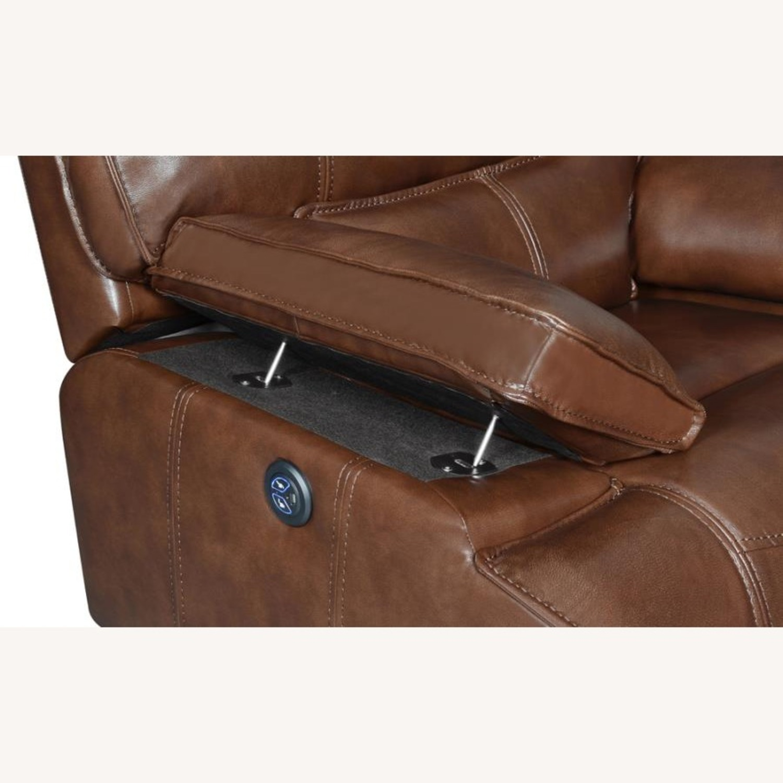 Power Sofa In Saddle Brown W/ Hugger Mechanism - image-5