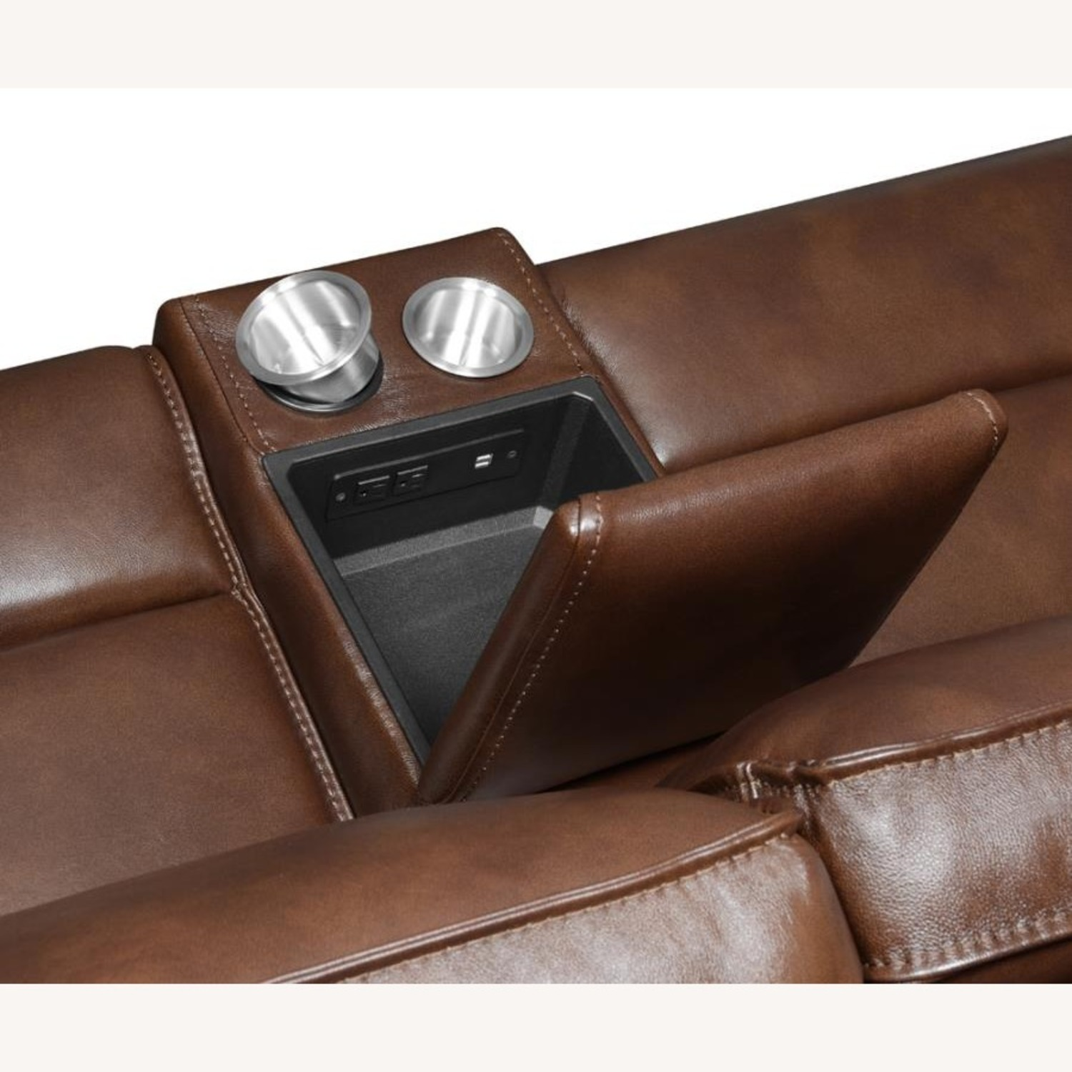 Power Loveseat In Saddle Brown W/ Console - image-4