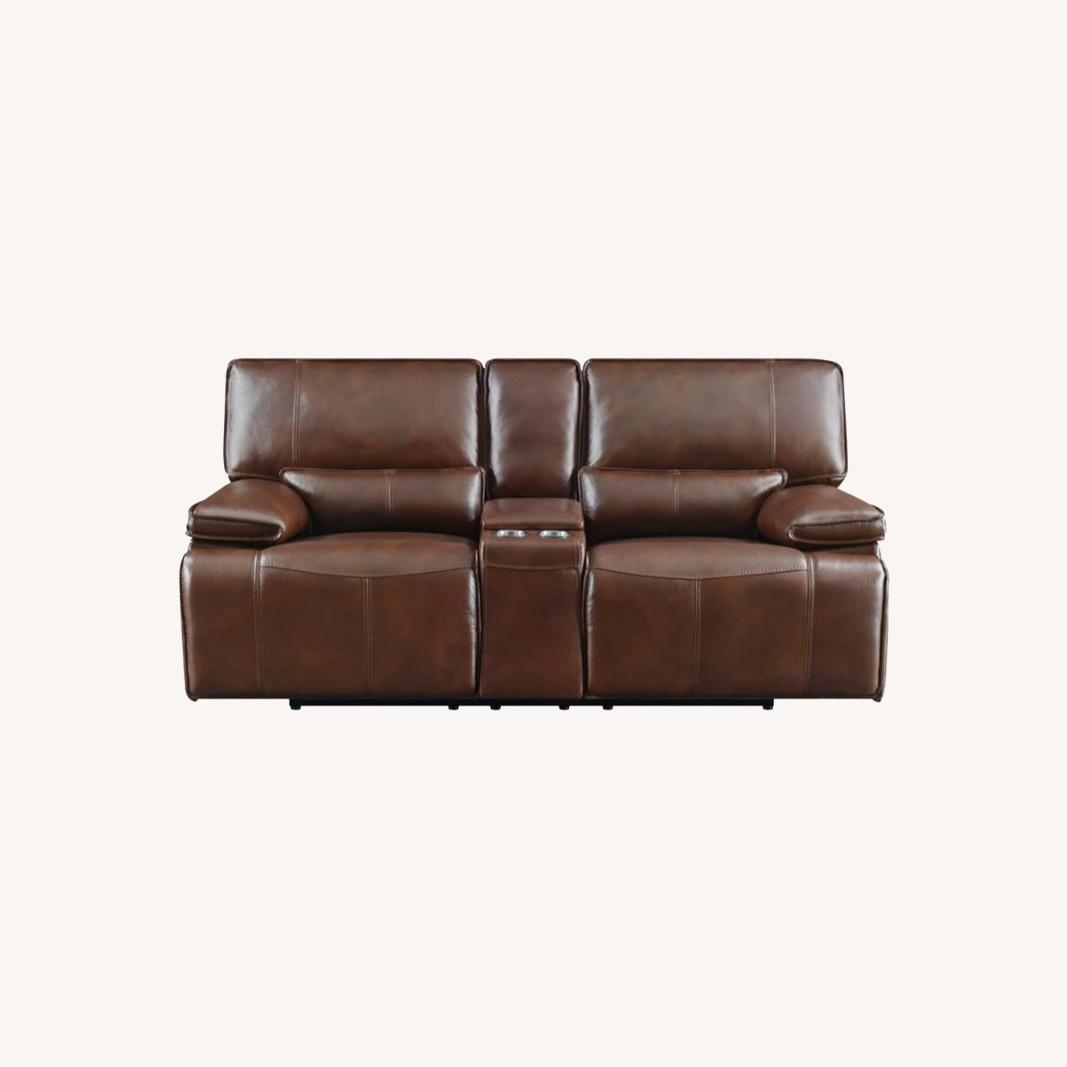 Power Loveseat In Saddle Brown W/ Console - image-10