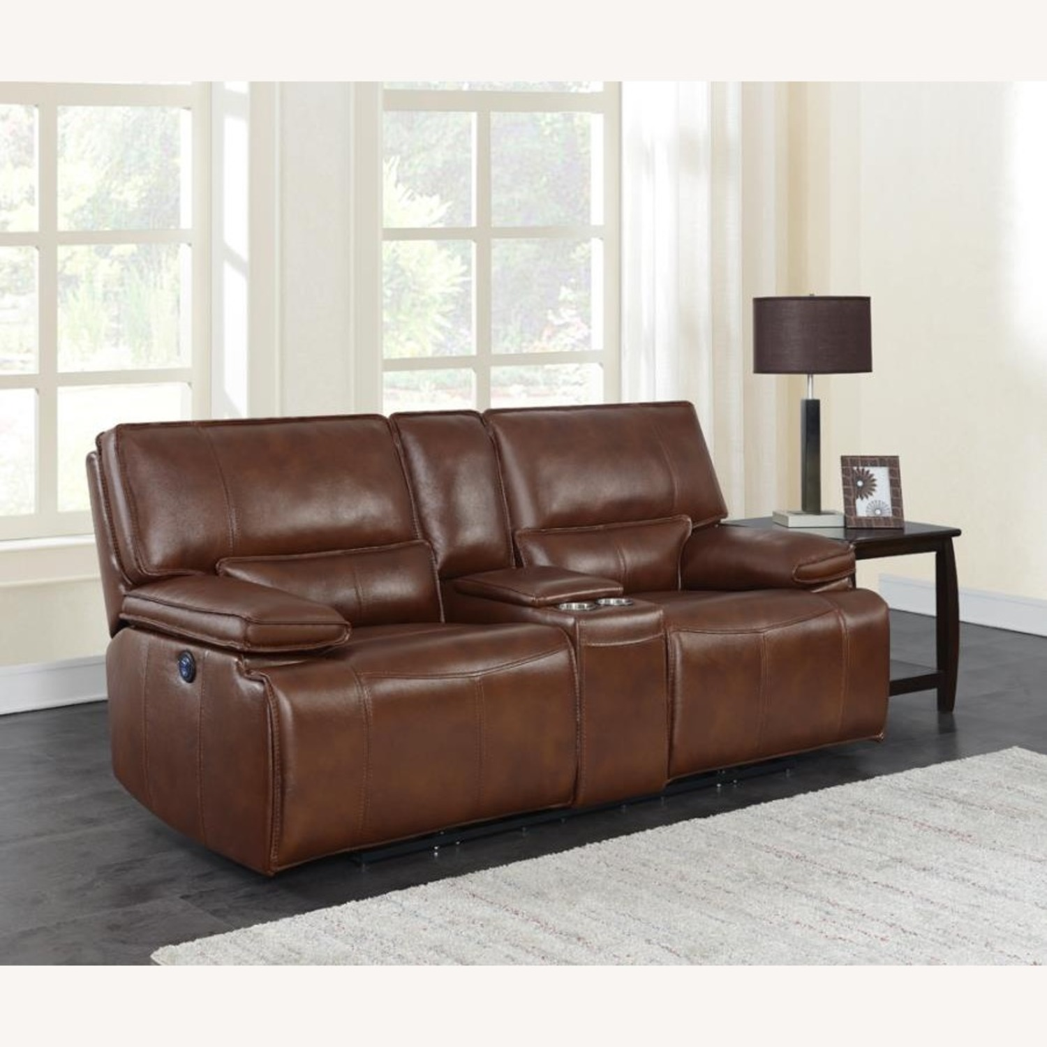 Power Loveseat In Saddle Brown W/ Console - image-8