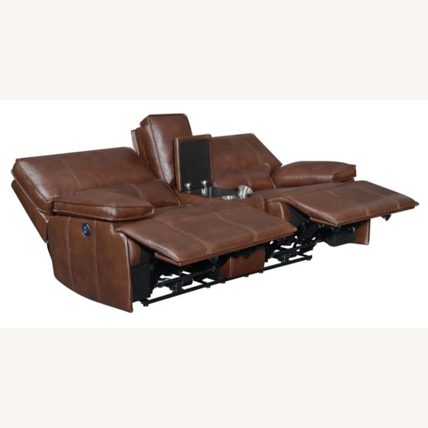 Power Loveseat In Saddle Brown W/ Console - image-1