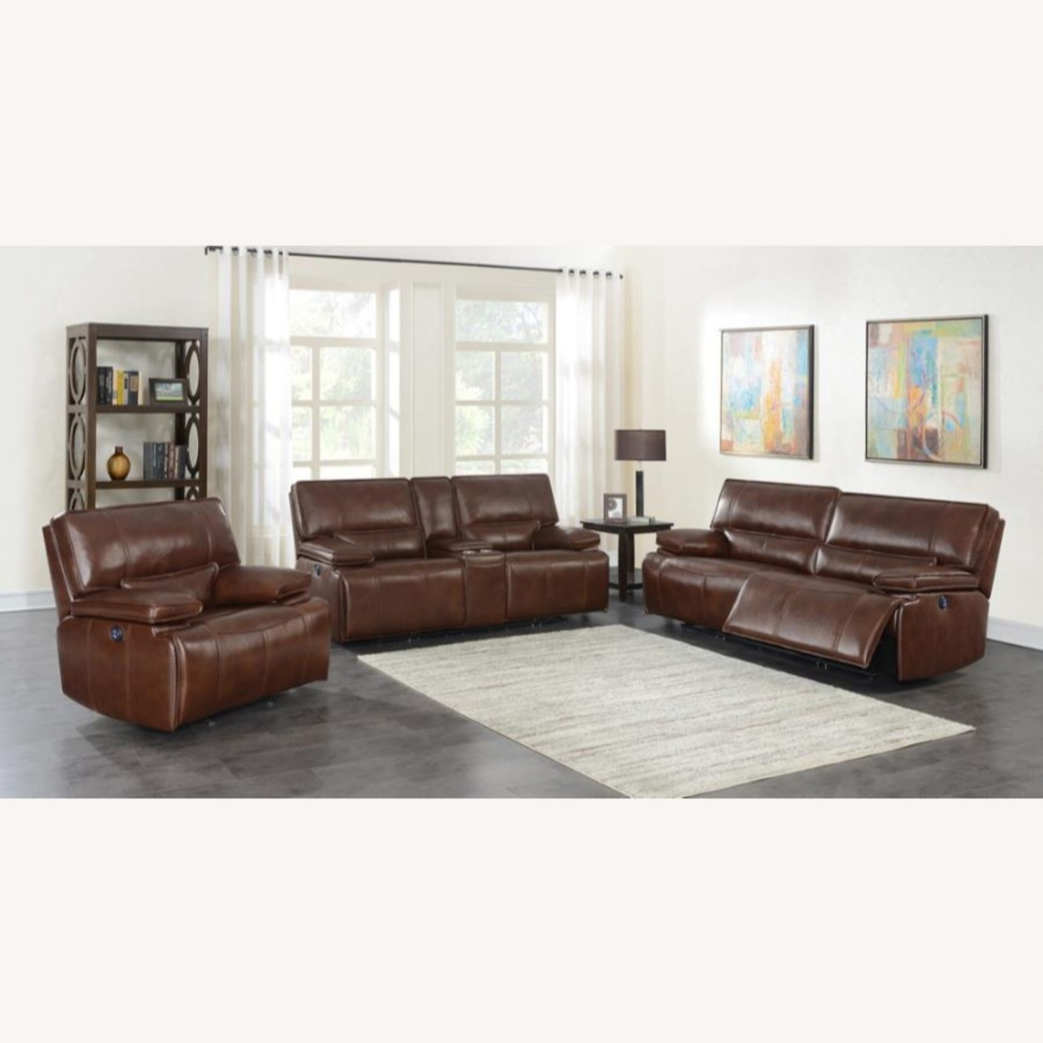 Power Loveseat In Saddle Brown W/ Console - image-9