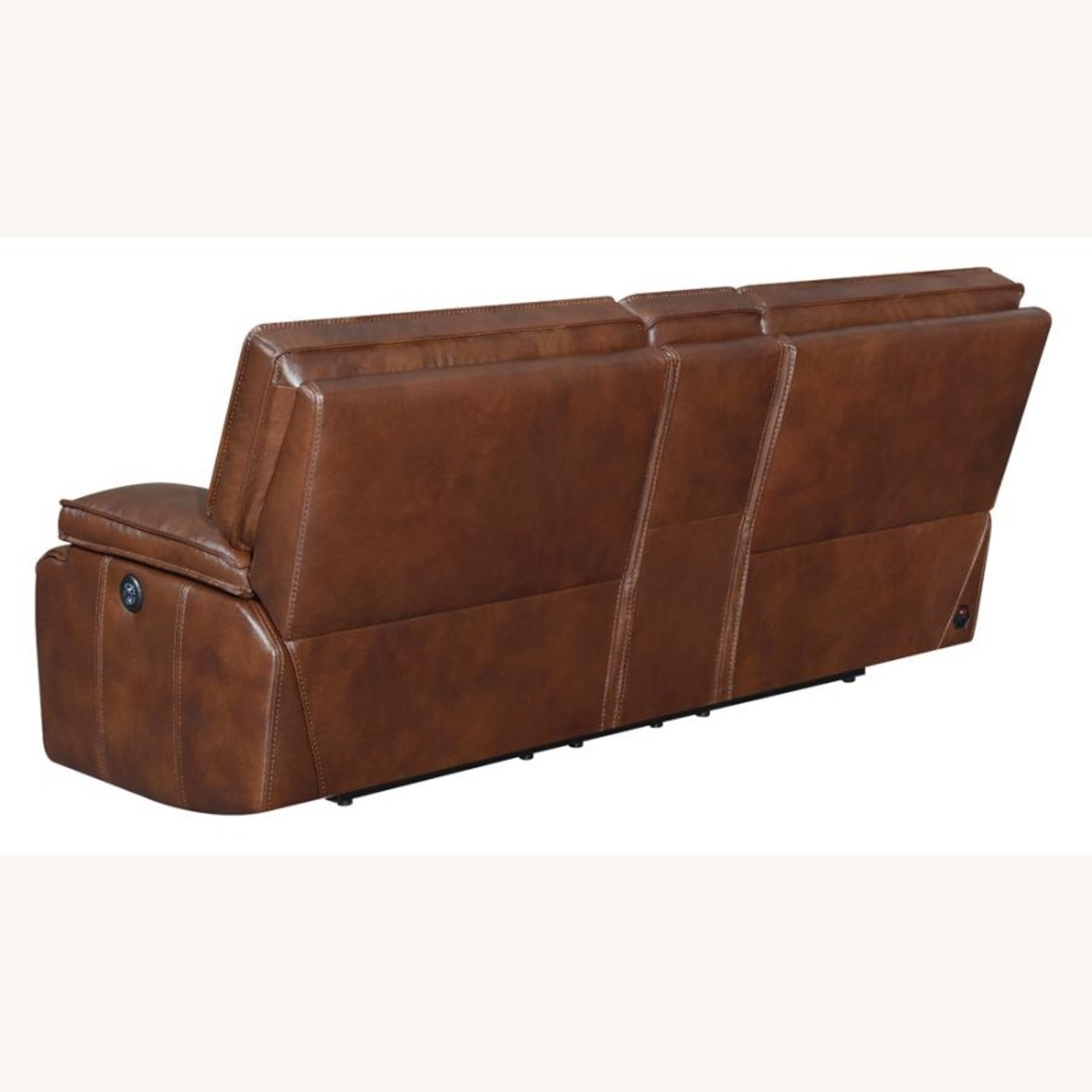 Power Loveseat In Saddle Brown W/ Console - image-3