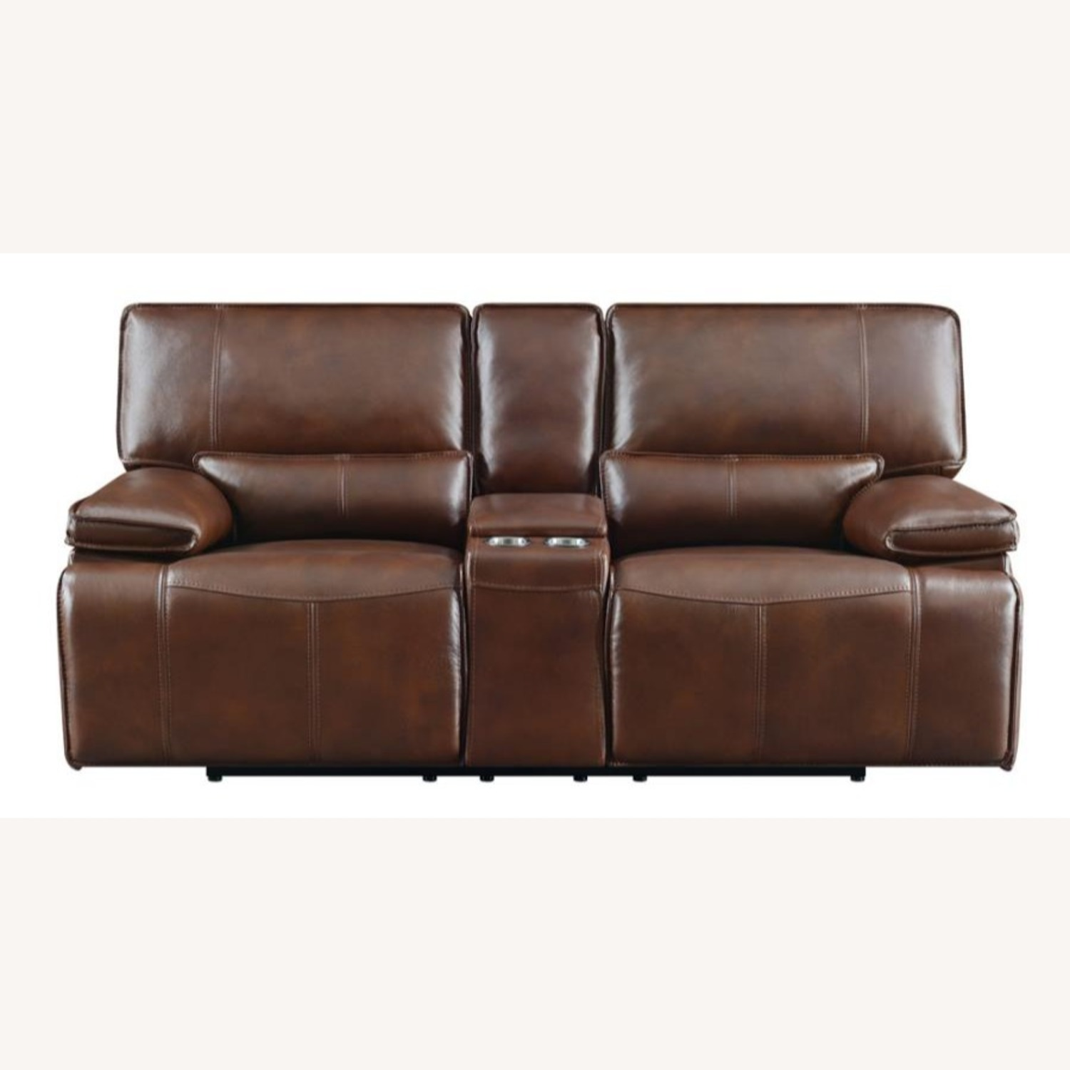 Power Loveseat In Saddle Brown W/ Console - image-2